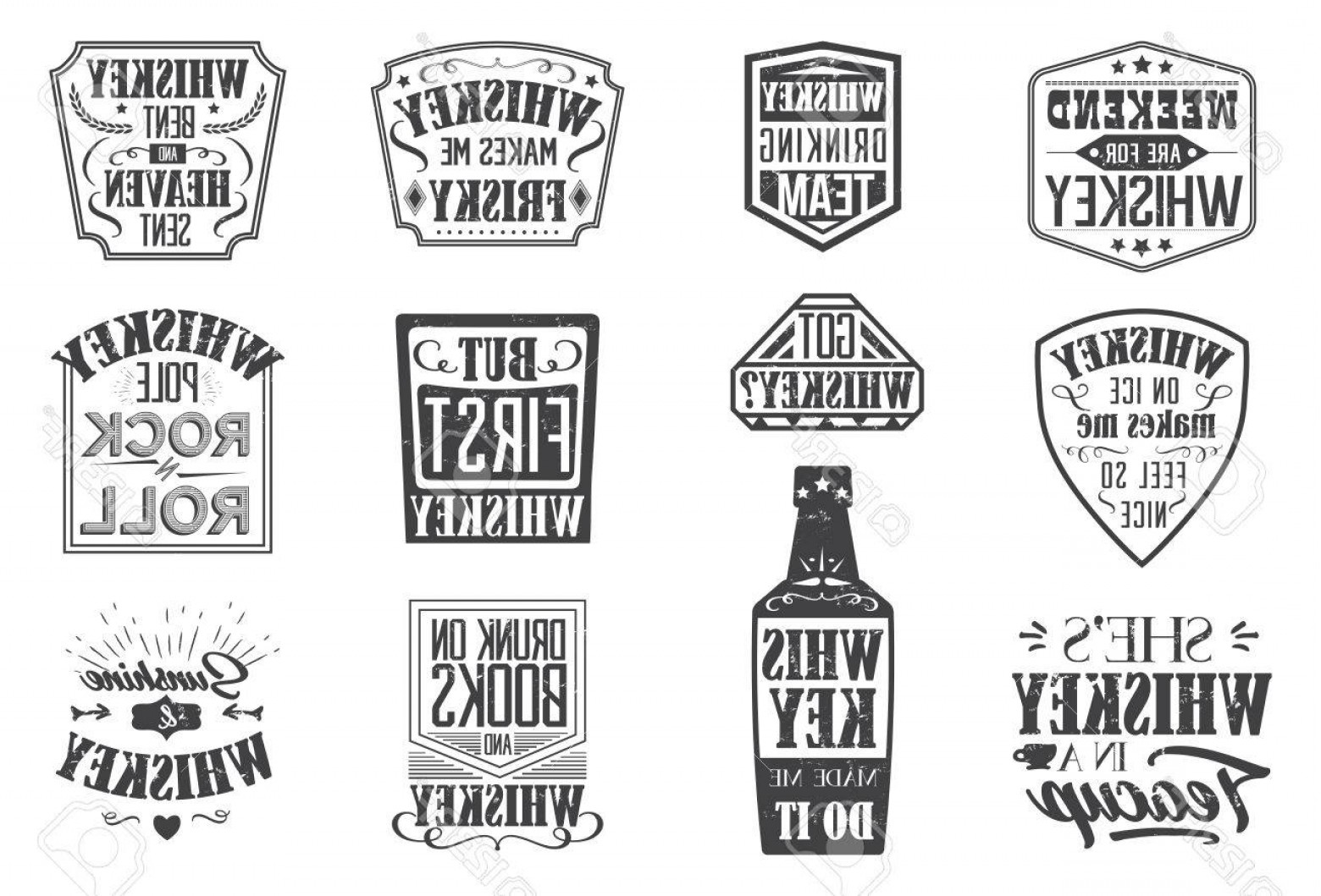 Americana Vector Art: Photostock Vector Whiskey Quote Badges Motto Written On White Background Frame With Stars In Vintage Americana Whiskey