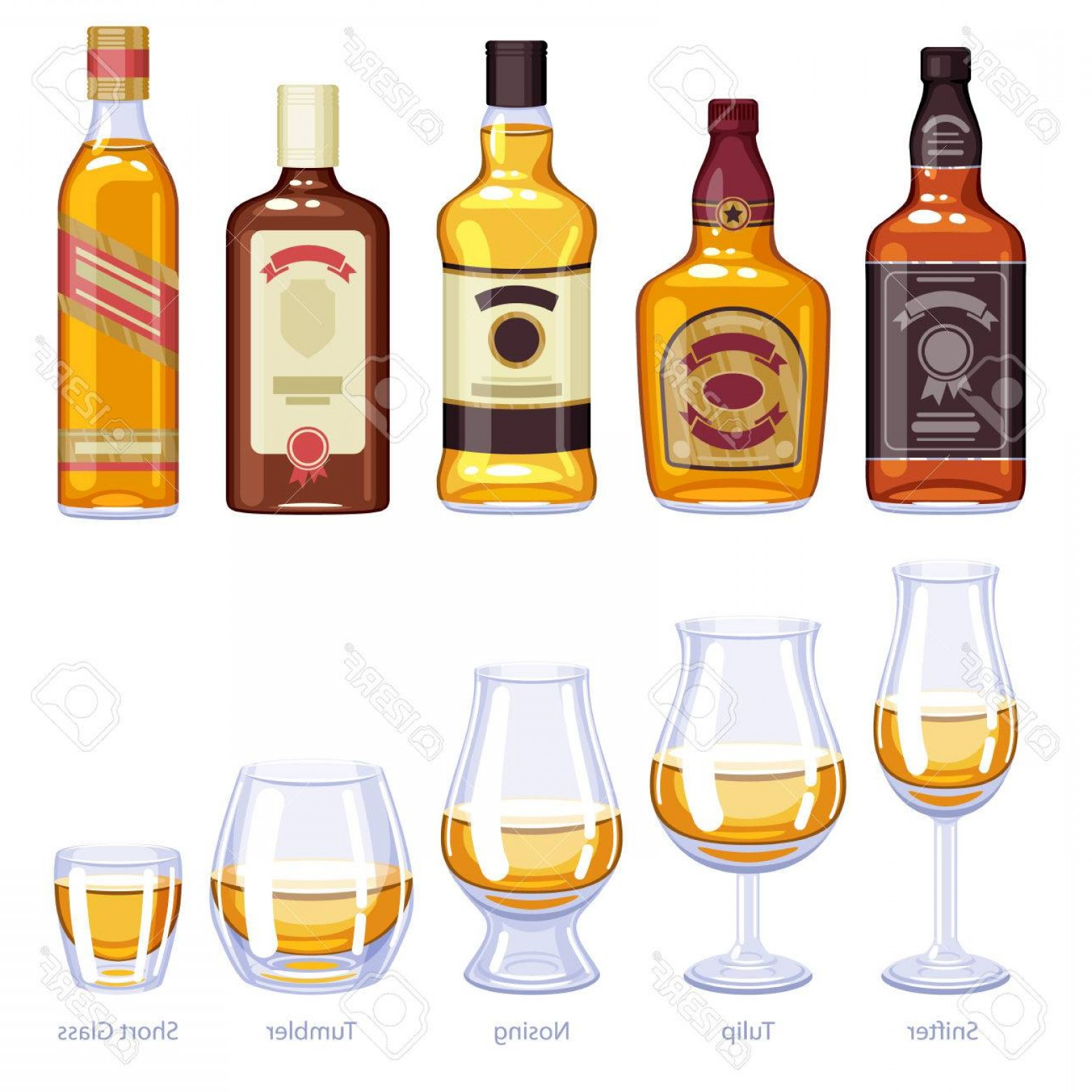 Alcohol Vector: Photostock Vector Whisky Bottles And Glusses Icons Set Alcohol Vector Illustration Snifter Tulip Nosing Tumbler Short