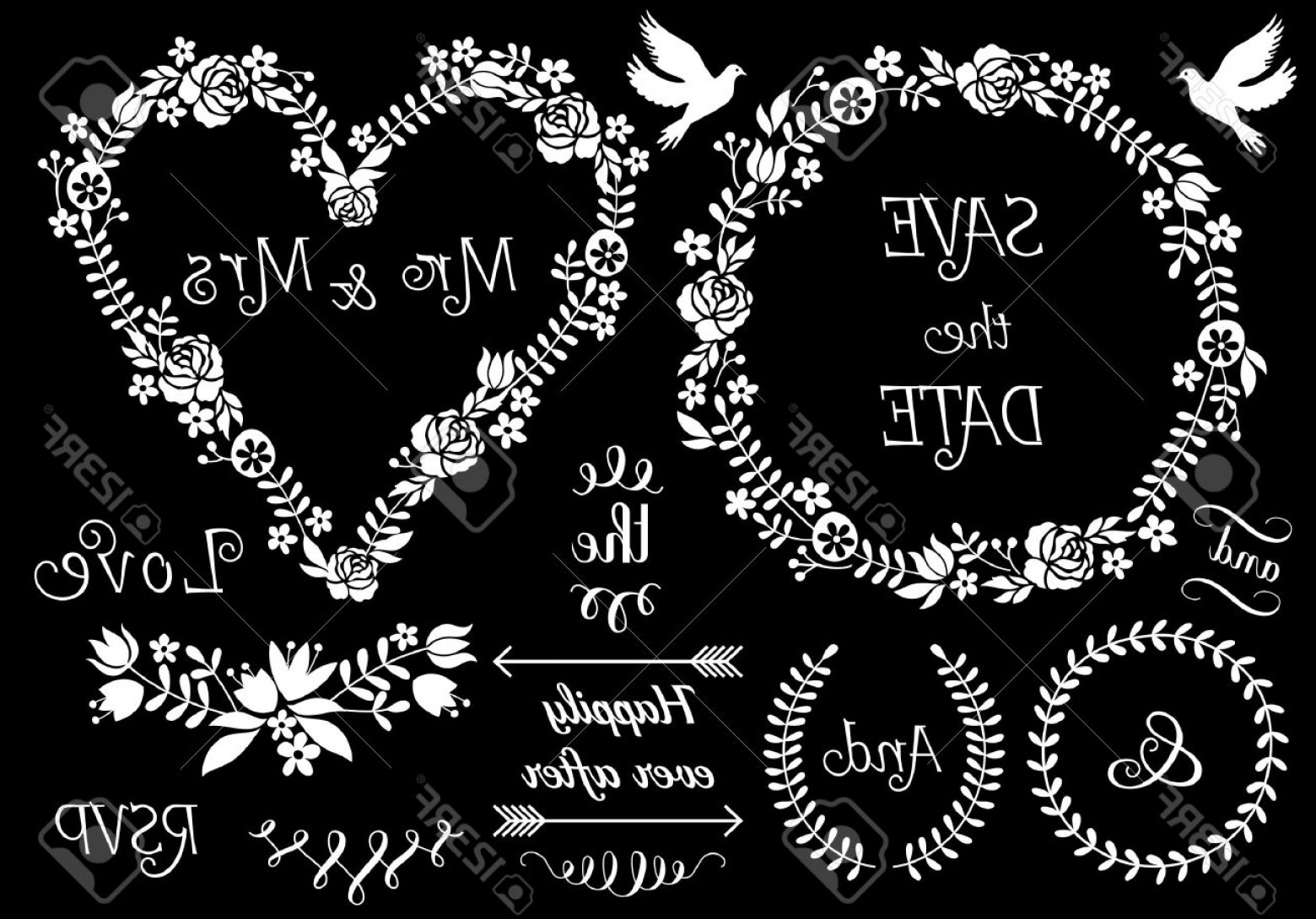 Floral Laurel Wreath Vector: Photostock Vector White Floral Wedding Frames And Laurel Wreath Vector Set On Chalkboard