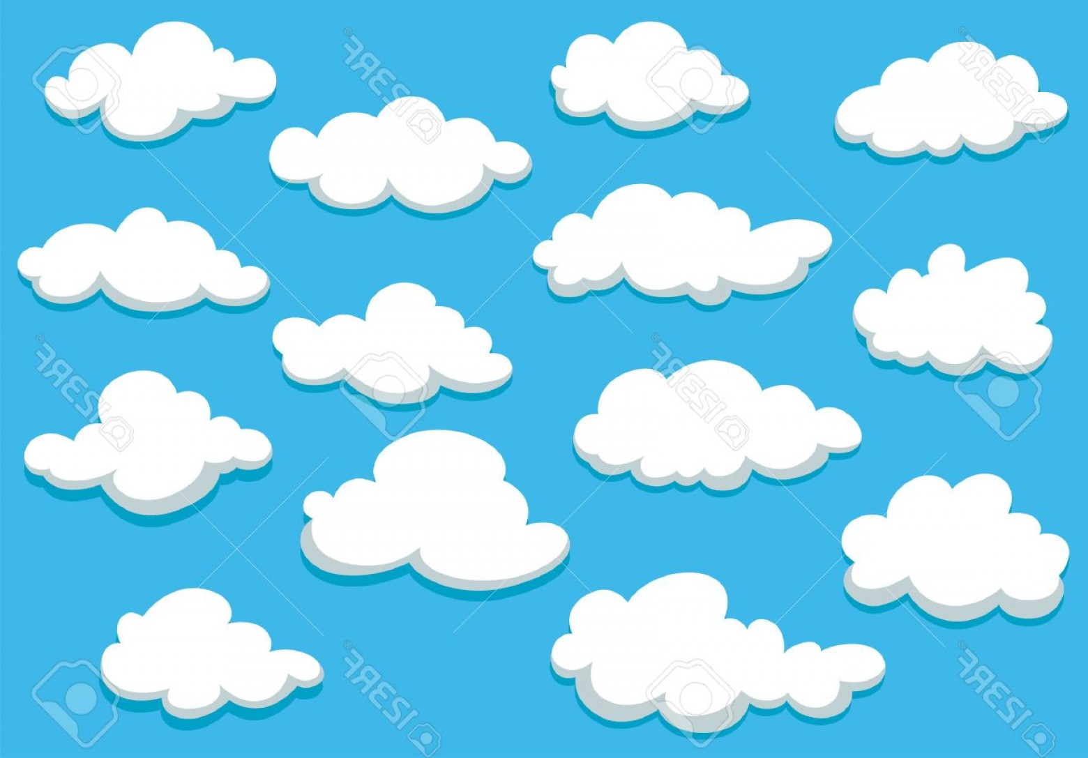 Clouds Backgrounds Vector: Photostock Vector White Fluffy Clouds On Spring Blue Sky In Cartoon Style For Background Or Wallpaper Design