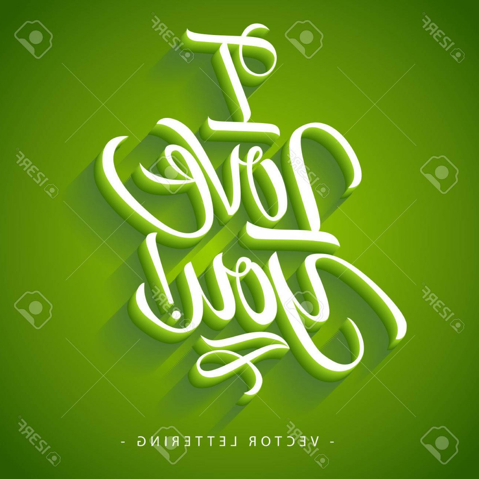 I Love You Mark Vector: Photostock Vector White I Love You Inscription With Exclamation Mark Isolated On Green Background