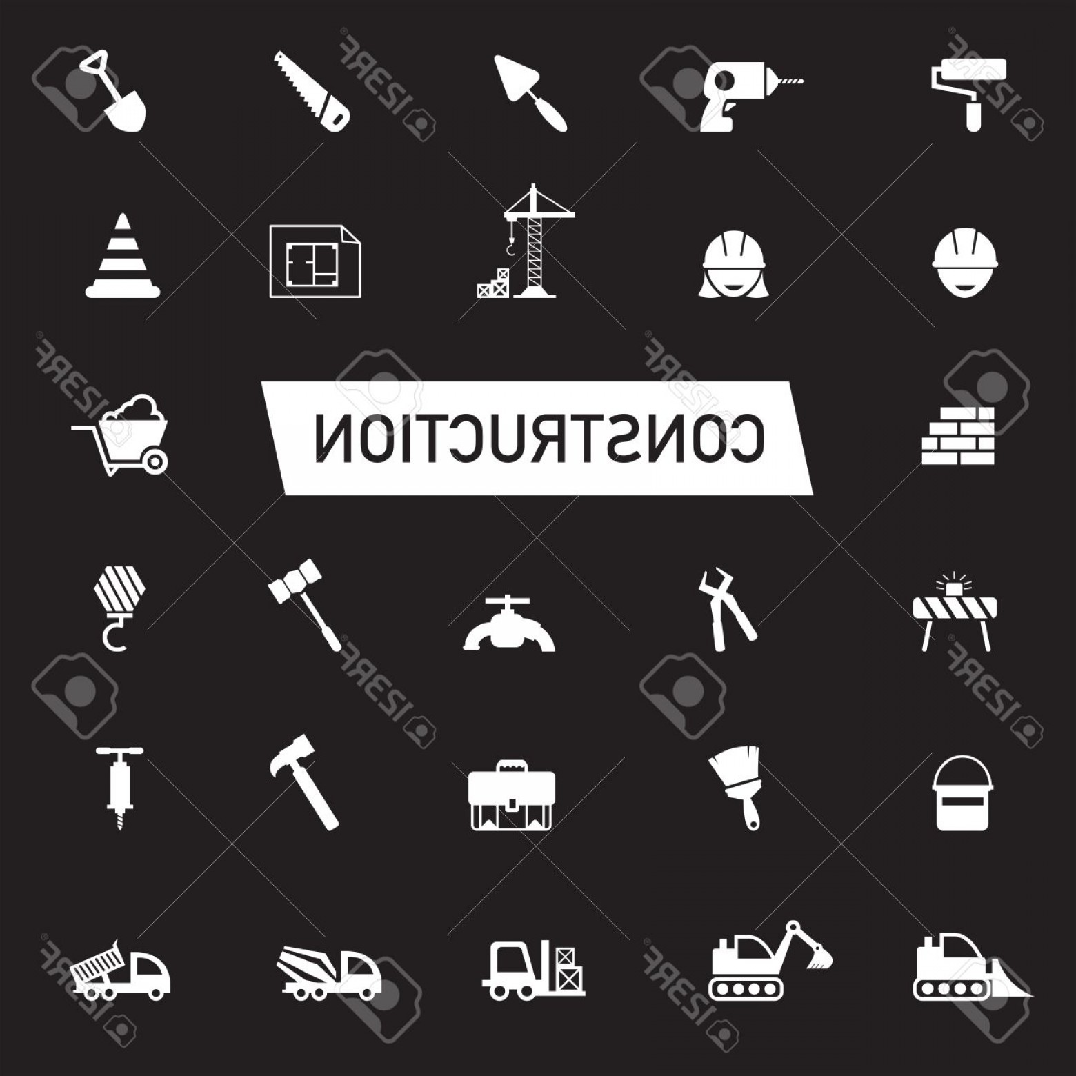 Vector Graphic Of Civil Engineering: Photostock Vector White Silhouette Civil Engineering Maintenance Labor Excavator Transport And Construction Site Indus