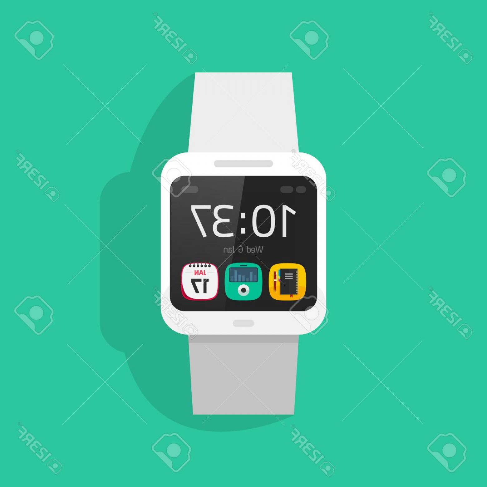 Fancy Wrist Watch Vector: Photostock Vector White Smart Watch Vector Illustration Isolated On Colorful Background Digital Hand Clock With Touchs