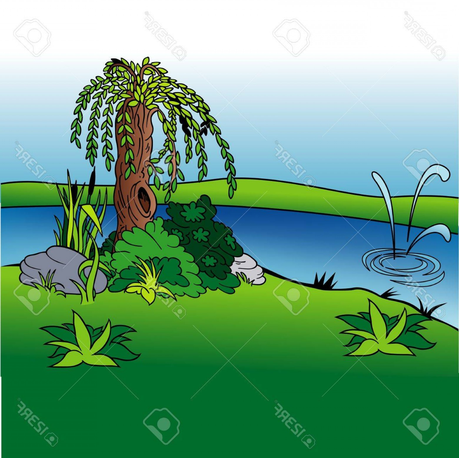 Vector Natural Willow: Photostock Vector Willow And Stream Cartoon Background Illustration Colored Vector