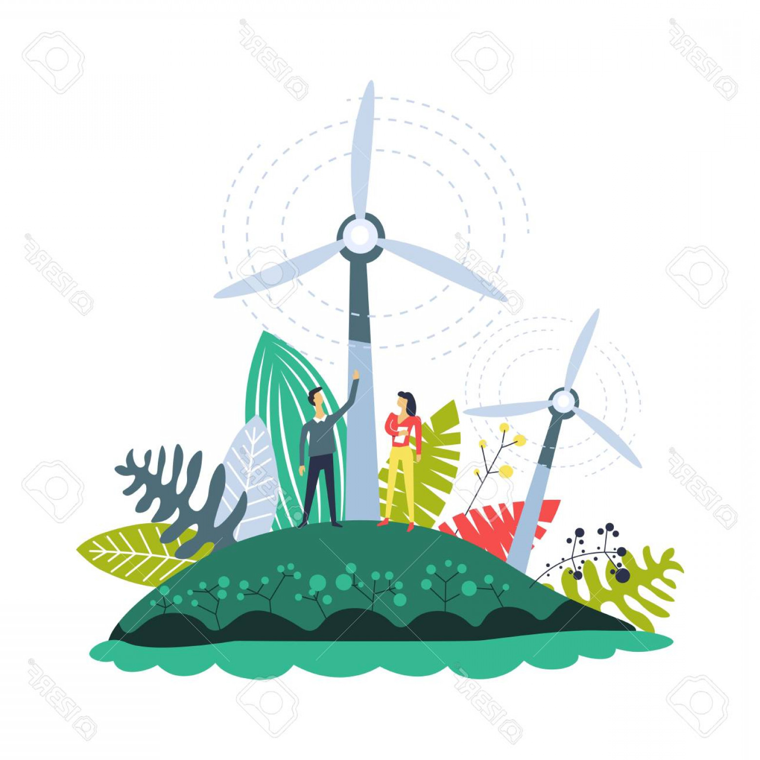 Wind Vector Field: Photostock Vector Wind Energy Plantations Windmills And Plants Set Vector People On Field With Generators With Propell