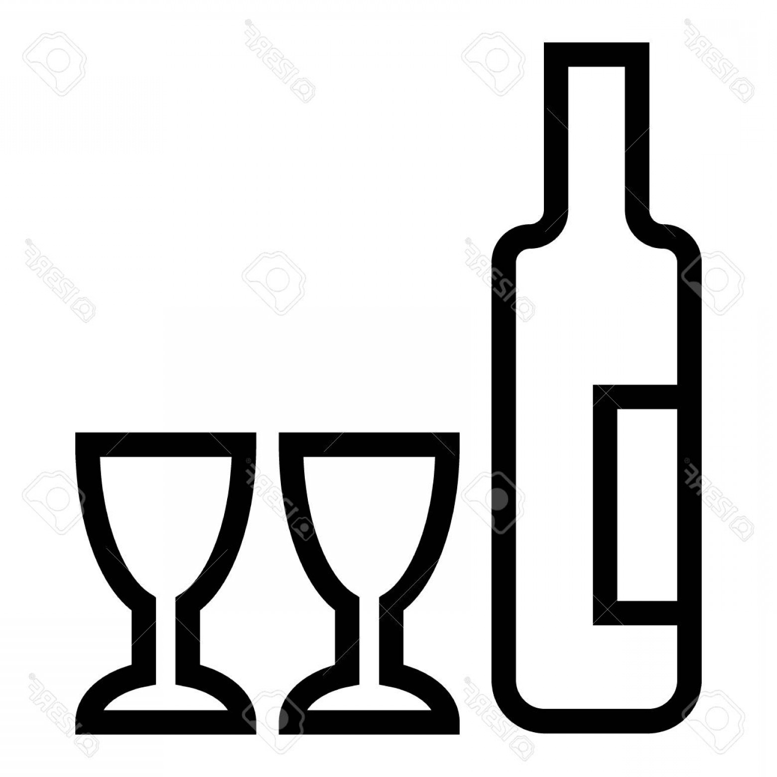 Alcohol Vector: Photostock Vector Wine And Two Glasses Line Icon Bottle Of Alcohol Vector Illustration Isolated On White Drink Outline