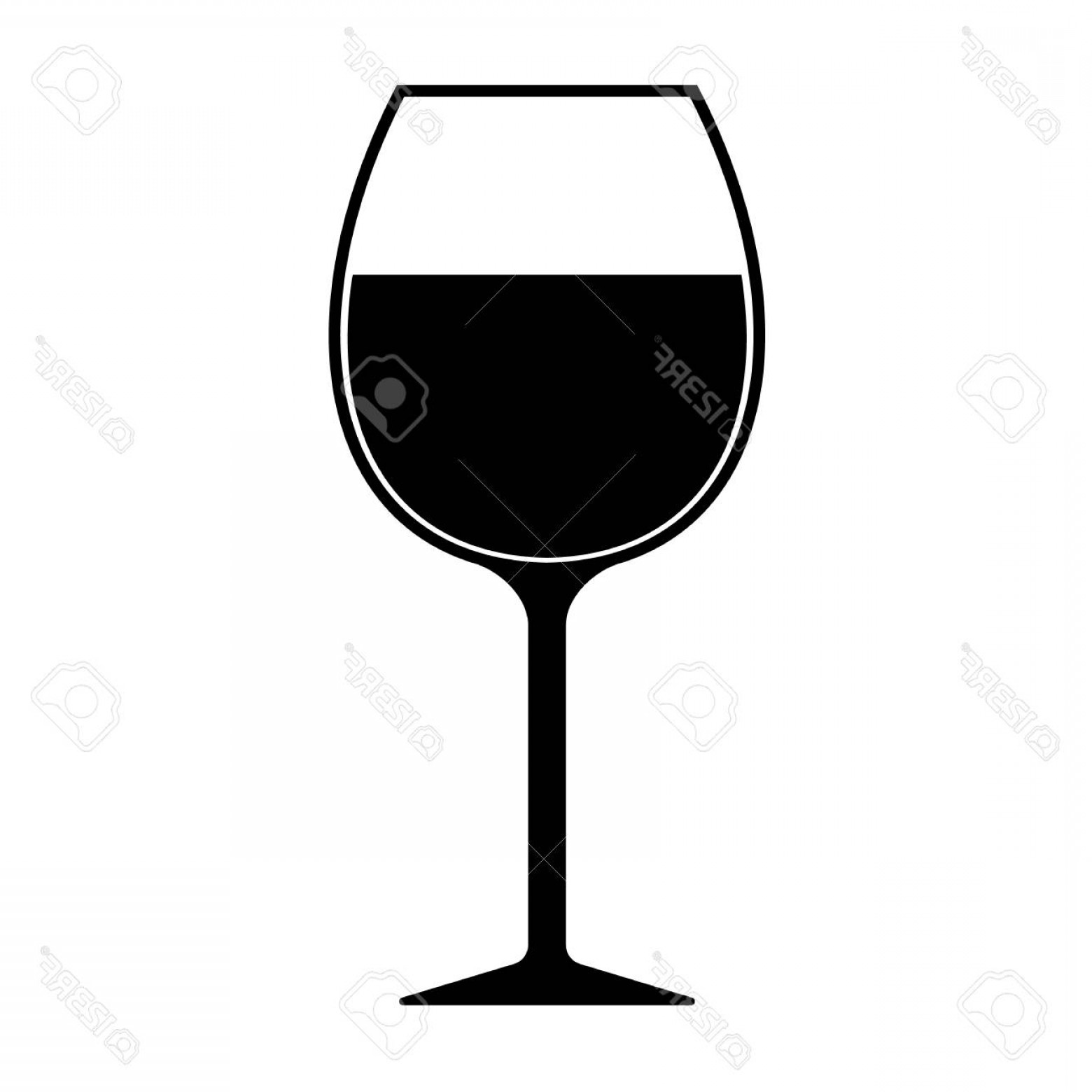 Single Wine Glass Silhouette Vector: Photostock Vector Wine Glass Silhouette Icon Vector Isolated