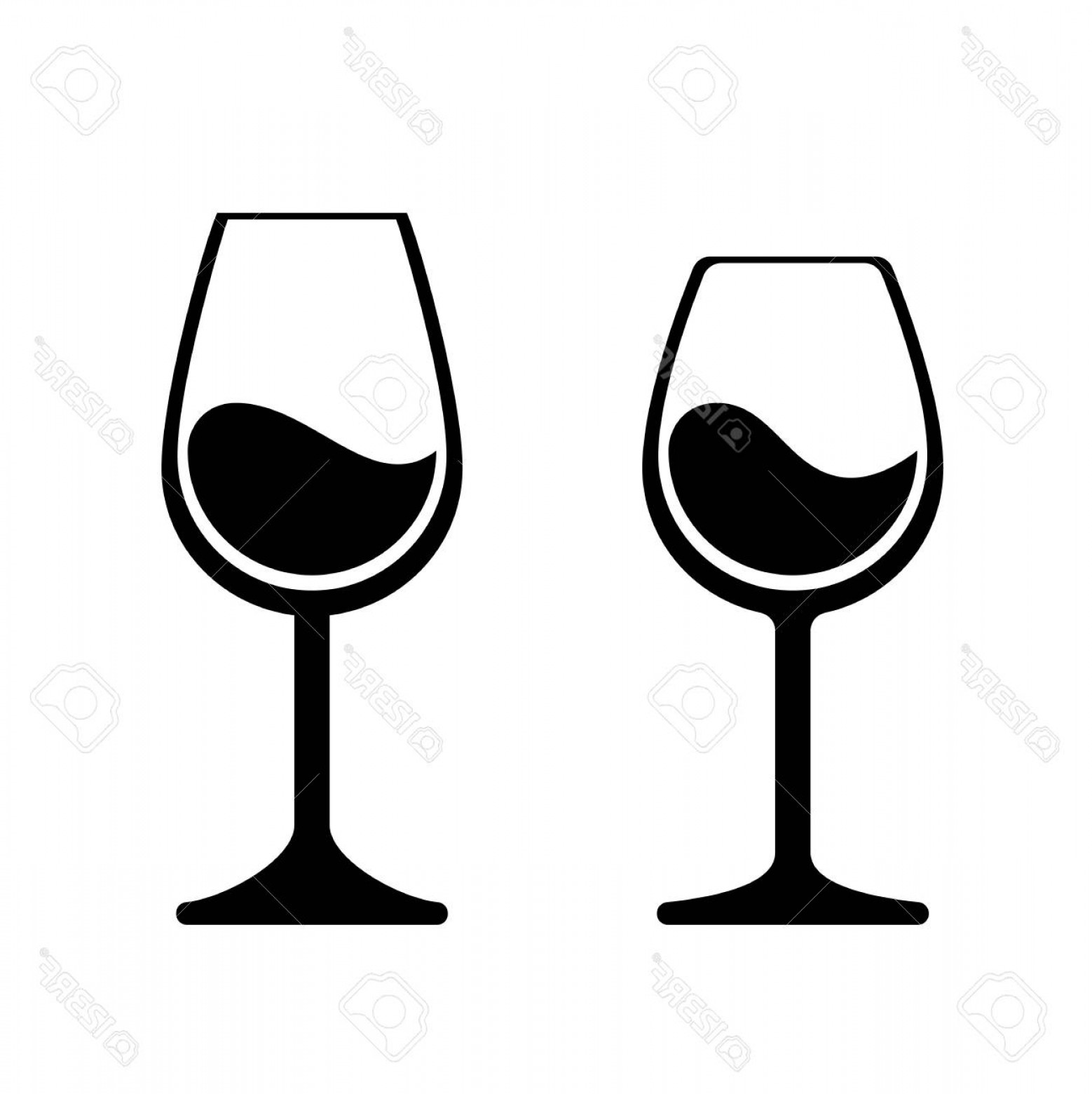 Single Wine Glass Silhouette Vector: Photostock Vector Wine Glass Vector Icons Isolated Wineglass Silhouette Alcohol Beverage Sign