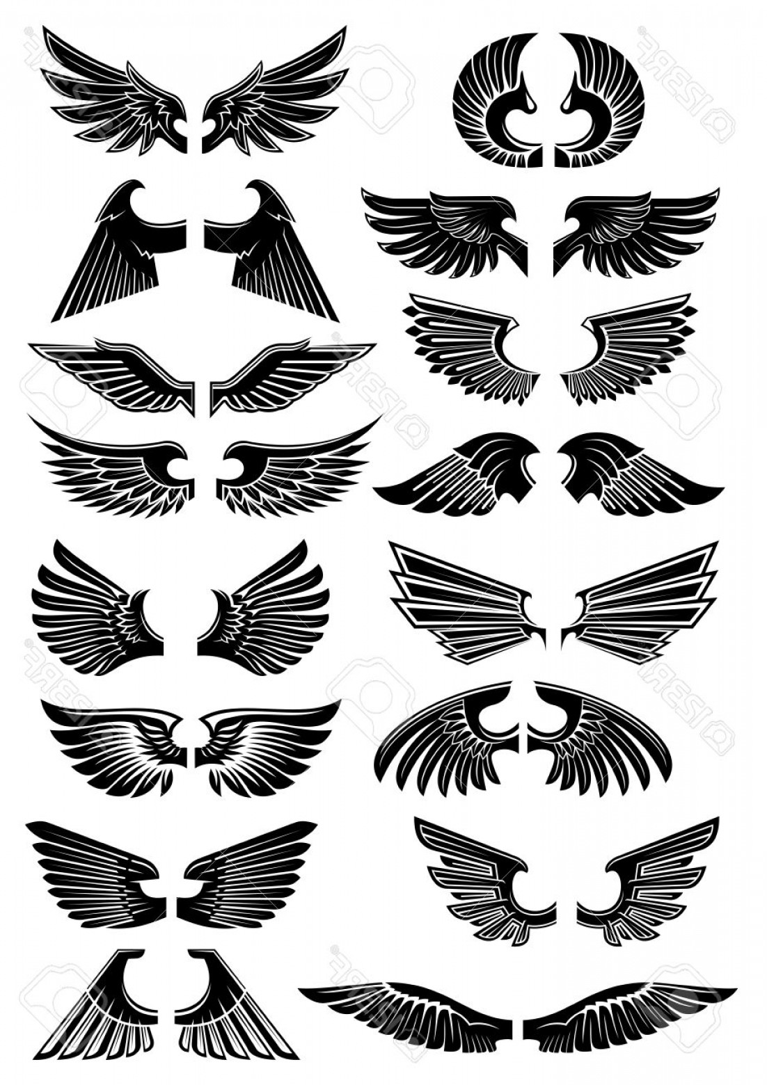 Angel Wings Tattoo Tribal Vector: Photostock Vector Wings Heraldic Icons Birds And Angel Wings Silhouette For Tattoo Heraldry Or Tribal Design Vector Go