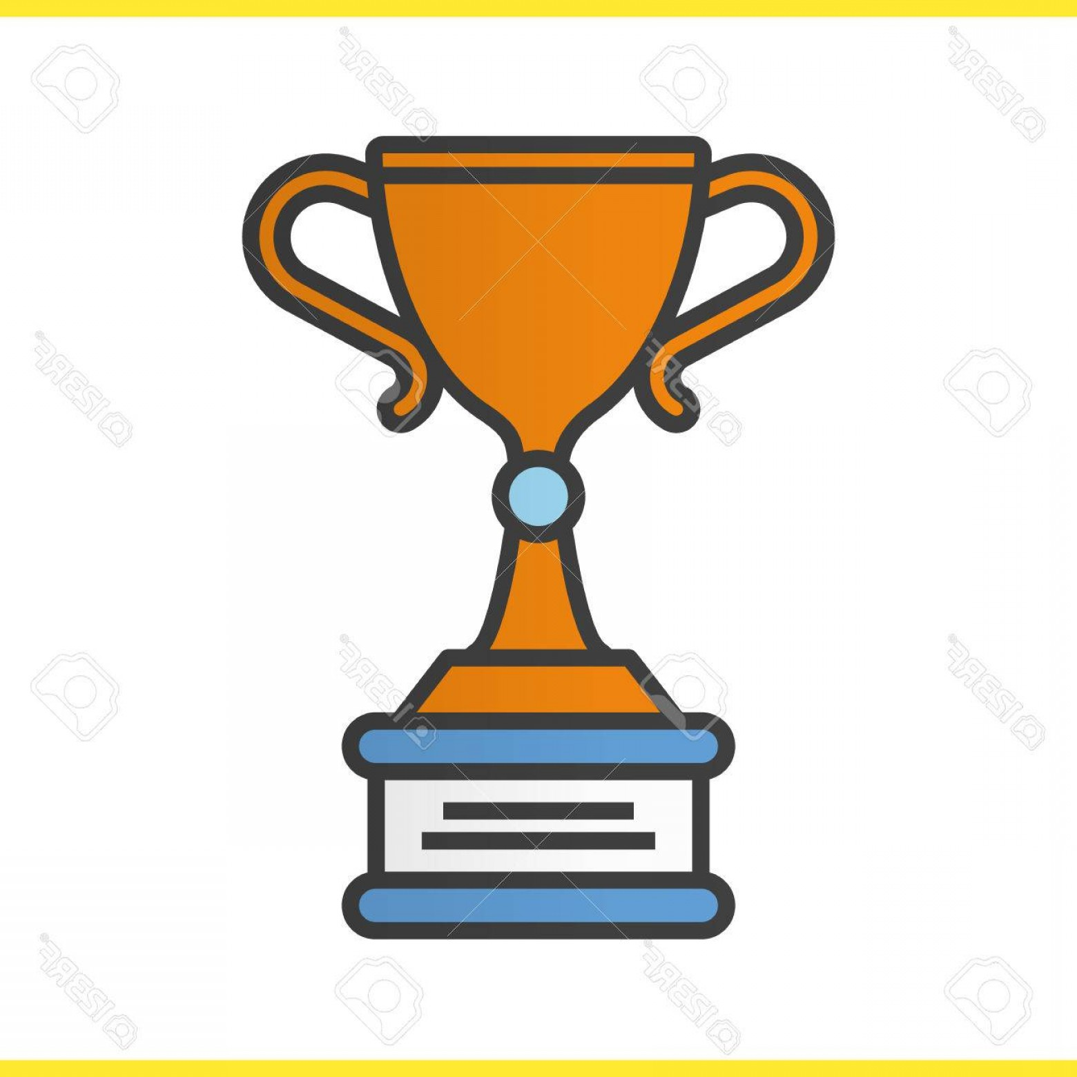 Ice Champions Cup Vector: Photostock Vector Winner S Trophy Cup Color Icon Ice Hockey Championship Award Isolated Vector Illustration