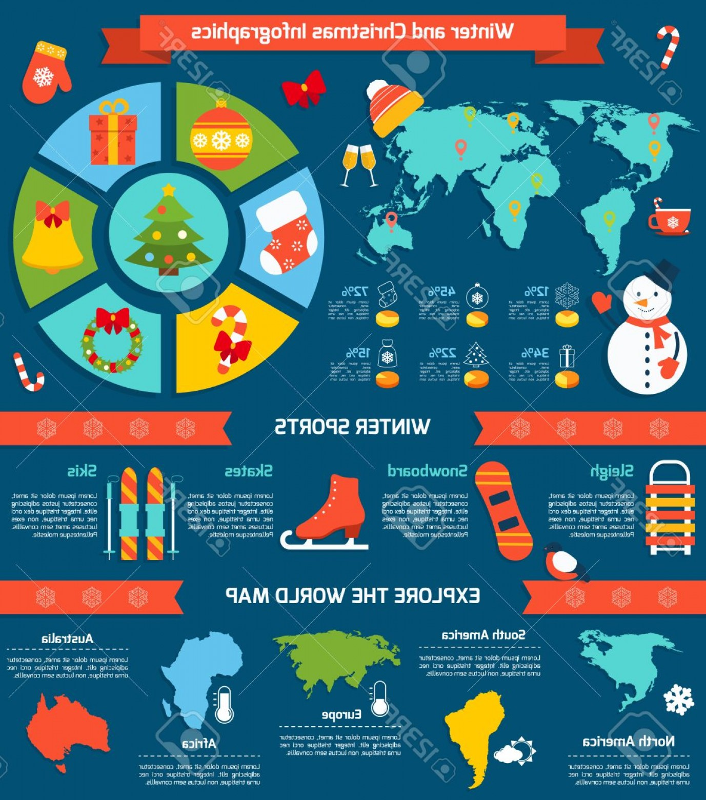 45 Pet Vector Map: Photostock Vector Winter And Christmas Infographic Set With Sports Symbols And World Map Vector Illustration