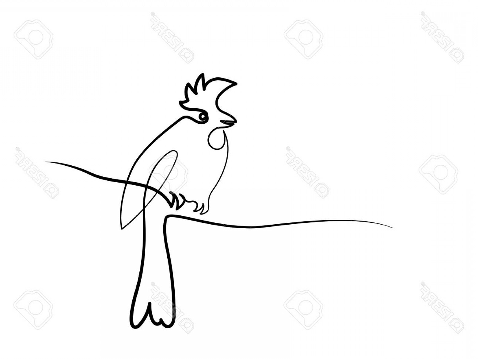 Continuous Tree Branch Vector Image: Photostock Vector Winter Bird On Tree Branch Continuous Line Drawing Vector Illustration