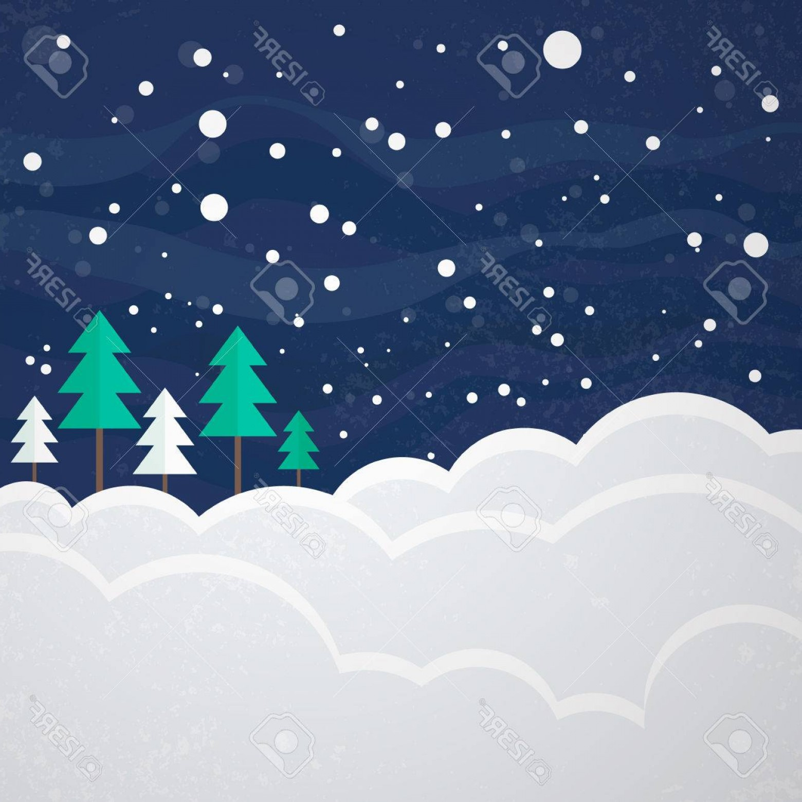 Free Winter Vector: Photostock Vector Winter Vector Card Design Christmas Template With Trees And Snow Xmas Background Snowy Scene With Na