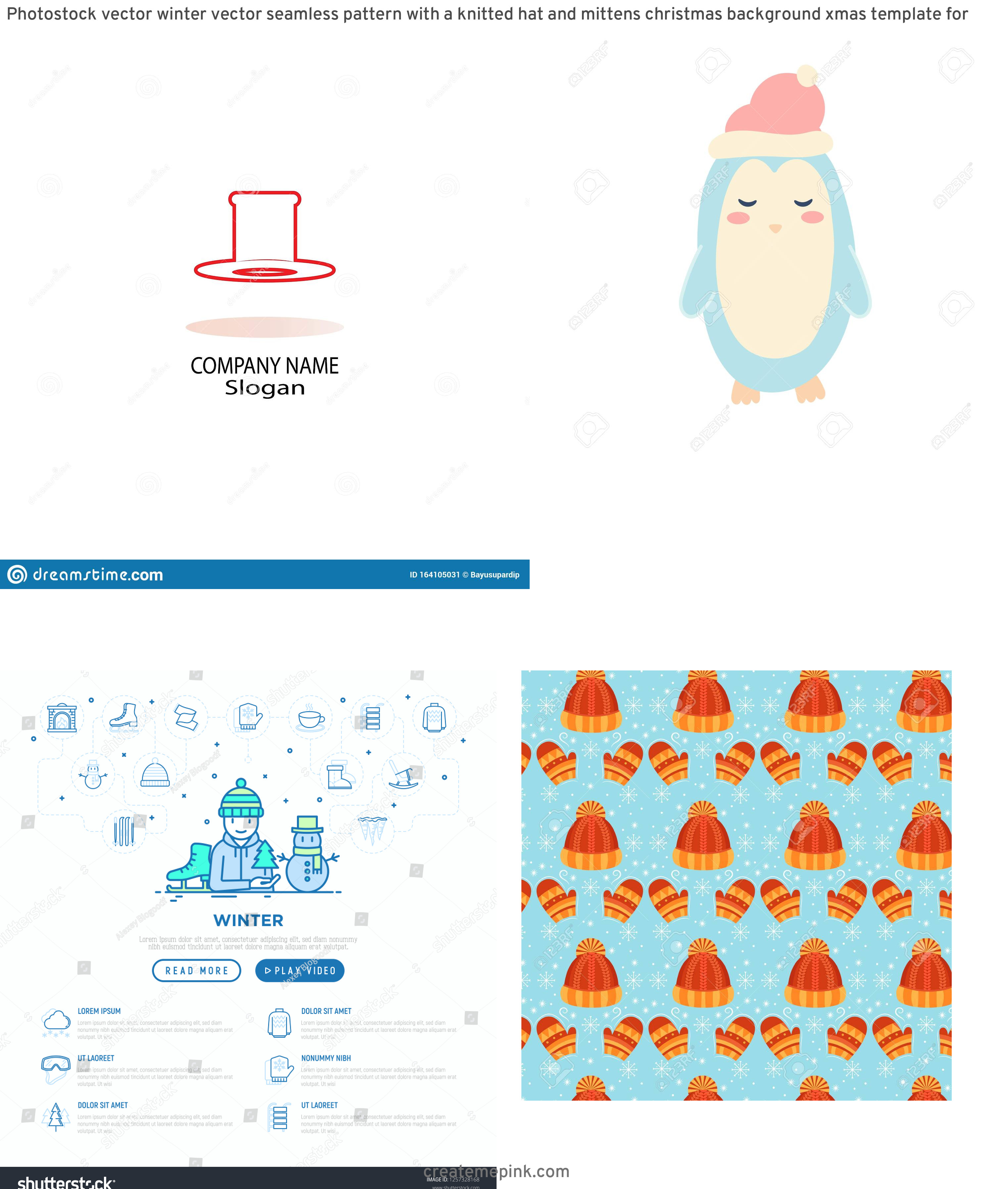 Winter Hat Vectors Templates: Photostock Vector Winter Vector Seamless Pattern With A Knitted Hat And Mittens Christmas Background Xmas Template For