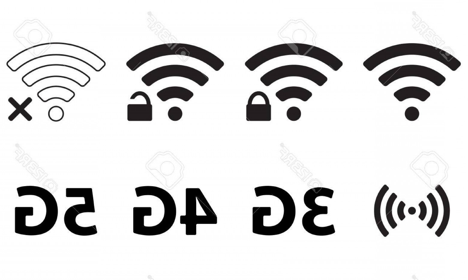 Wifi Symbol Clip Art Vector: Photostock Vector Wireless And Wifi Icon Set For Remote Internet Access Podcast Vector Symbol G G And G Technology
