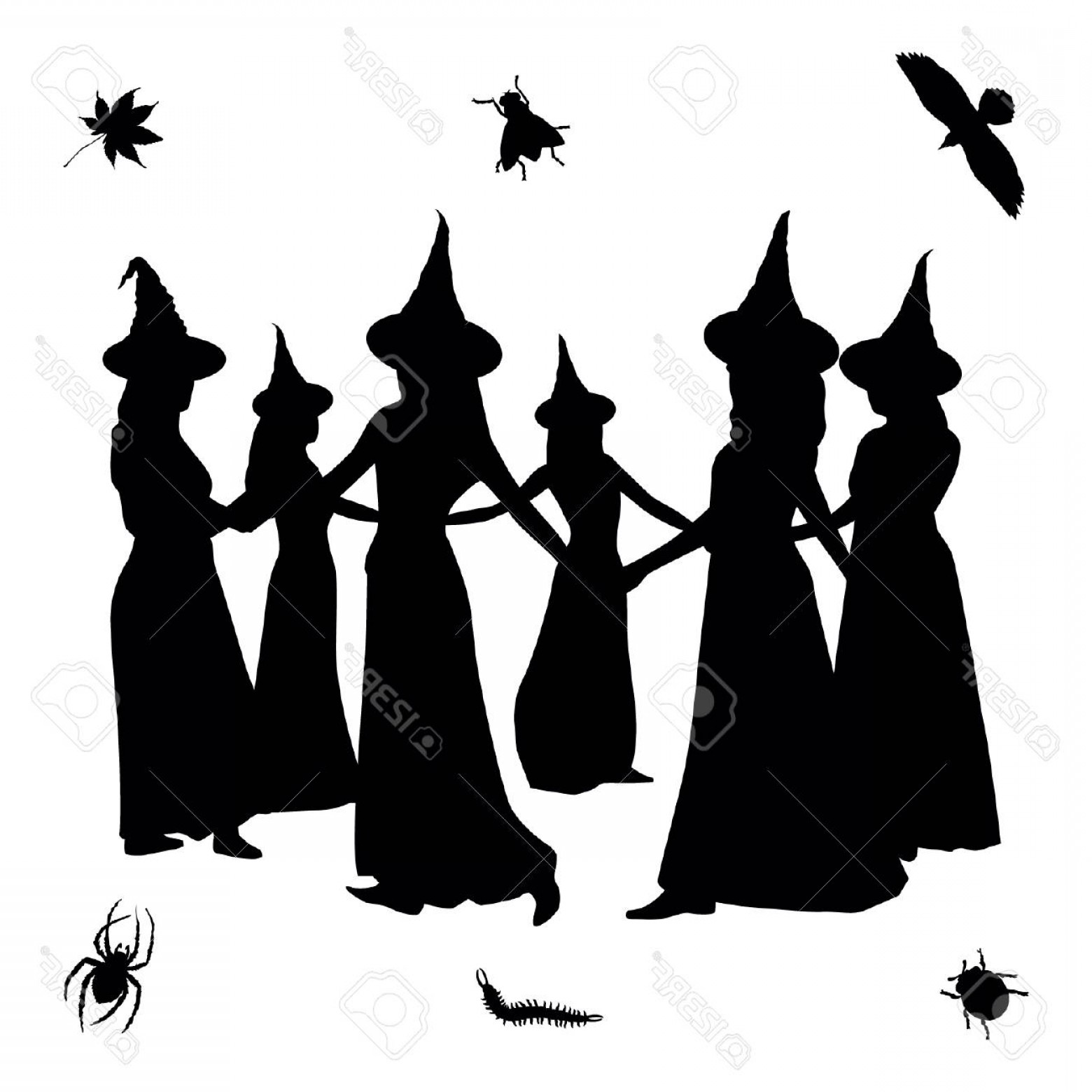 Witch Silhouette Vector: Photostock Vector Witch Silhouettes Vector Illustration