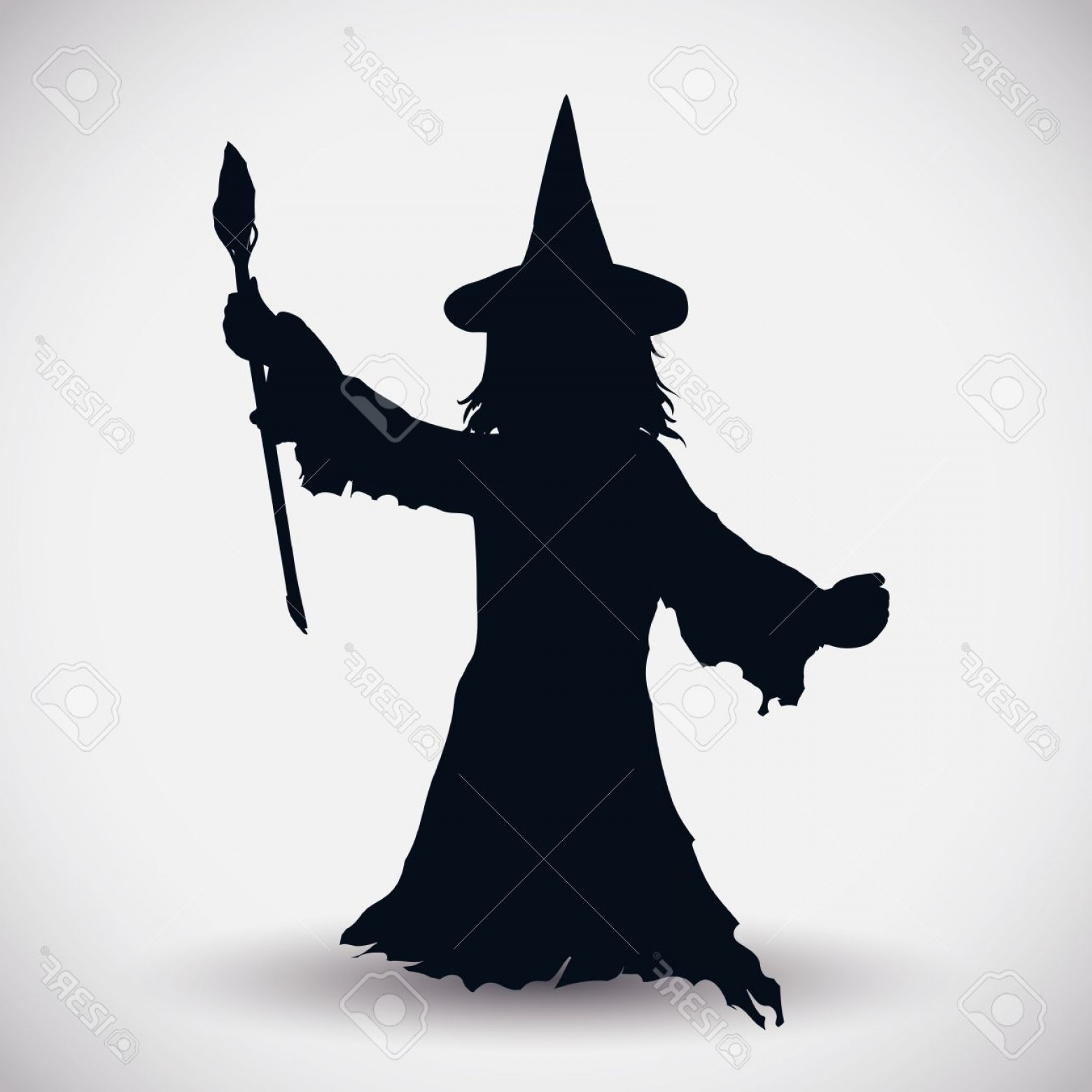 Wizard Silhouette Vector: Photostock Vector With Magic Wand Wizard Silhouette Isolated On White Background