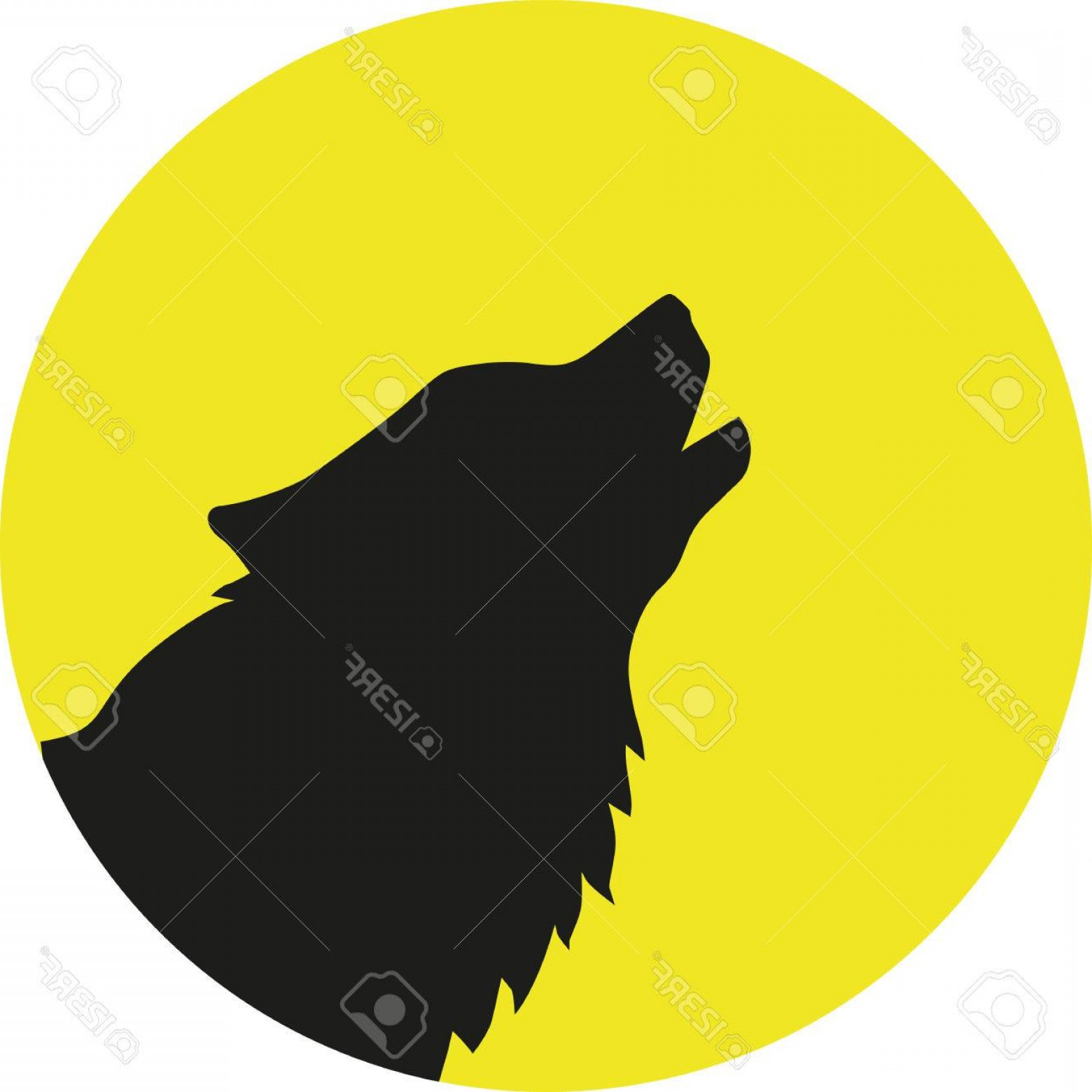 Calm Wolf Vector: Photostock Vector Wolf Head In Front Of A Yellow Moon