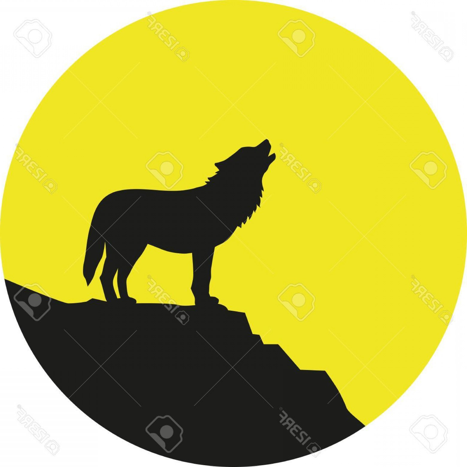 Calm Wolf Vector: Photostock Vector Wolf Howling At Full Moon