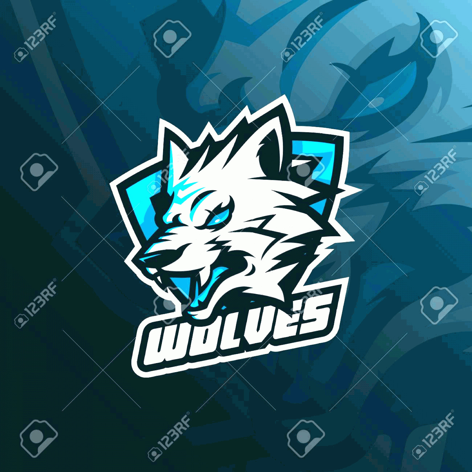 Wolf Vector Logo: Photostock Vector Wolf Vector Mascot Logo Design With Modern Illustration Concept Style For Badge Emblem And Tshirt Pr
