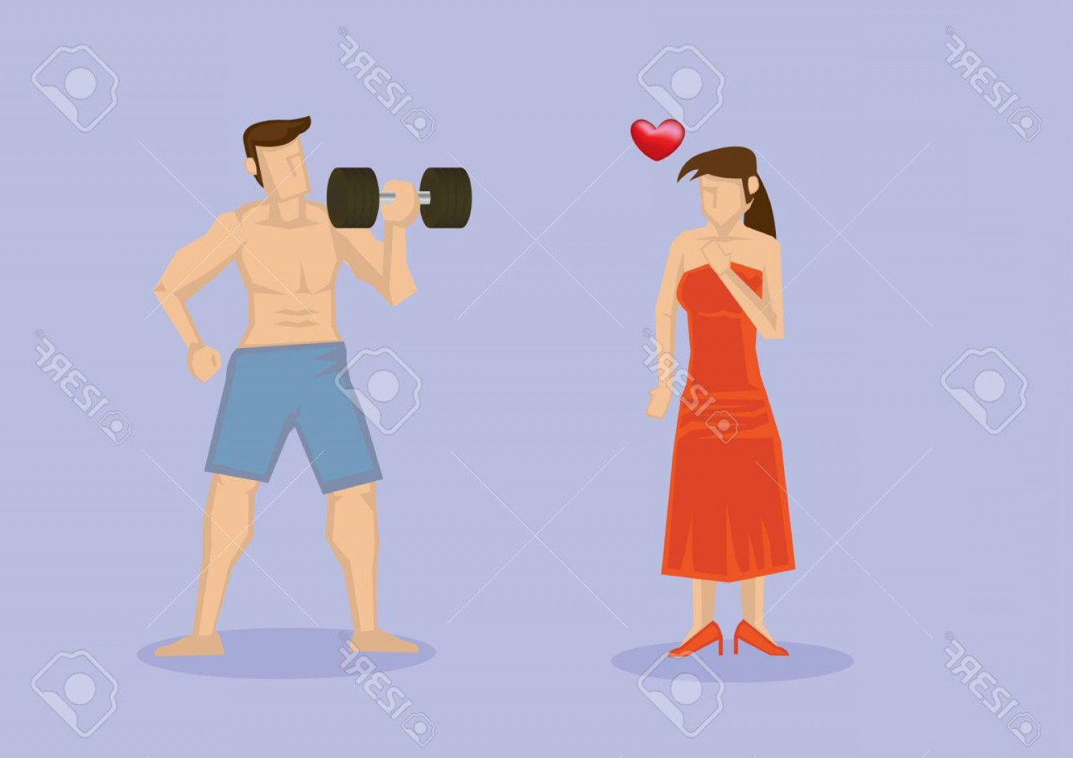 Bumper Barbell Vector: Photostock Vector Woman Attracted To Strong Man With Muscular Torso Working Out With Dumbbell Vector Illustration Isol