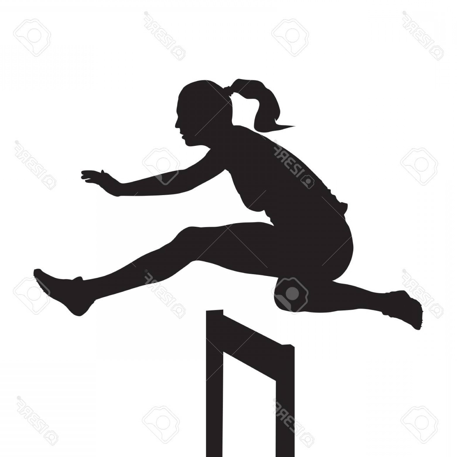 Vector Silhouette Of Girl Running Track: Photostock Vector Woman Jumping And Running Over Hurdles Hurdle Race Vector Silhouette