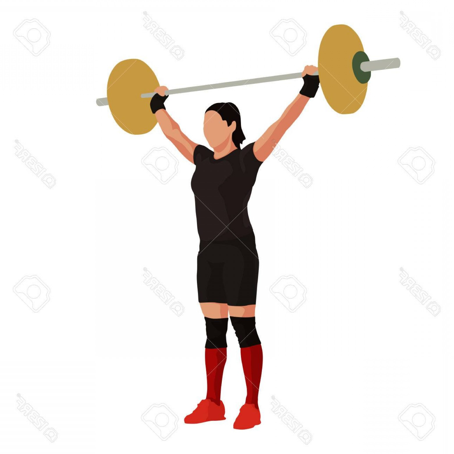 Vector Weight Lifting: Photostock Vector Woman Lifts The Barbell Above Her Head Weight Lifting Vector Illustration