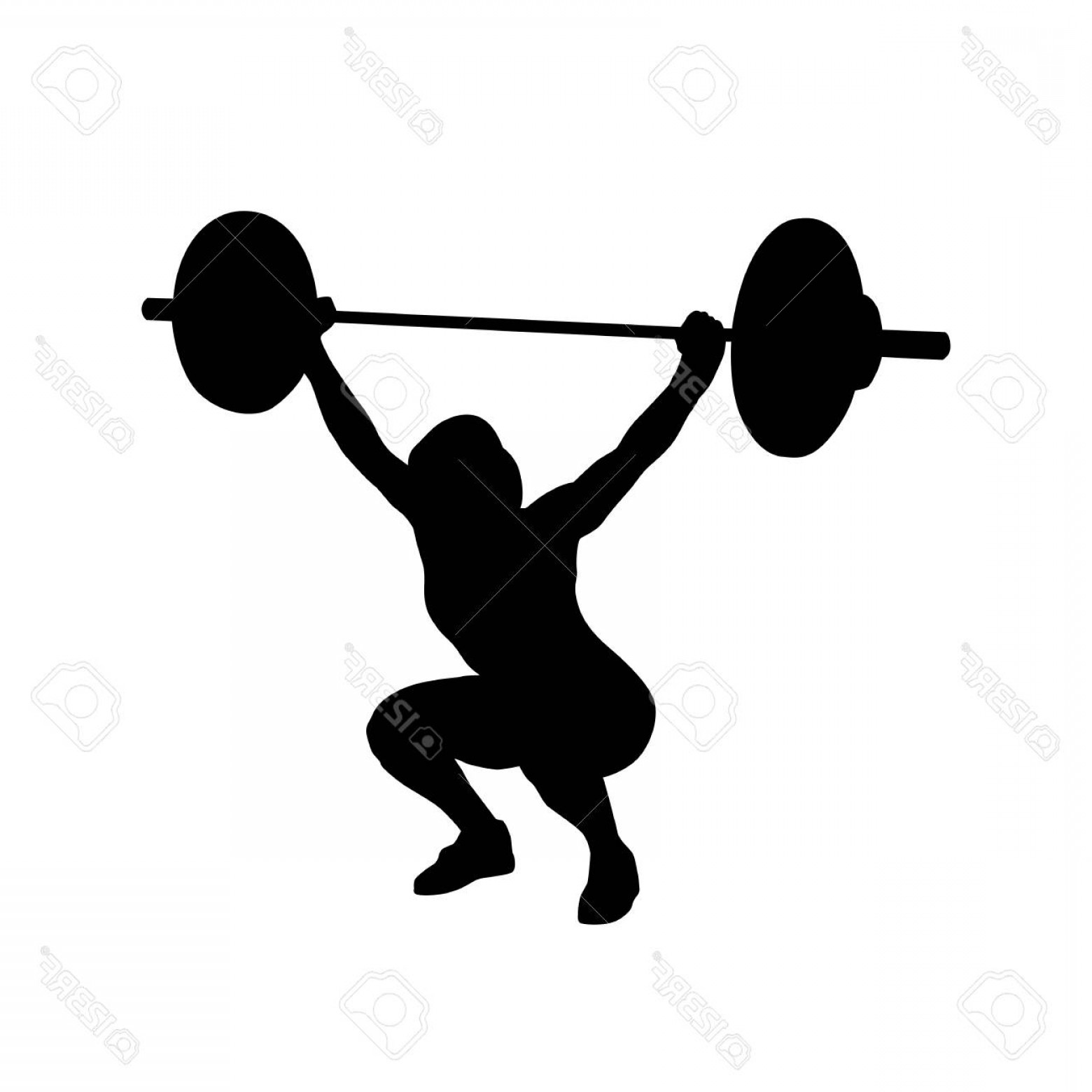 Vector Weight Lifting: Photostock Vector Woman Practicing With Barbell Weight Lifting Bodybuilding Vector Isolated Silhouette