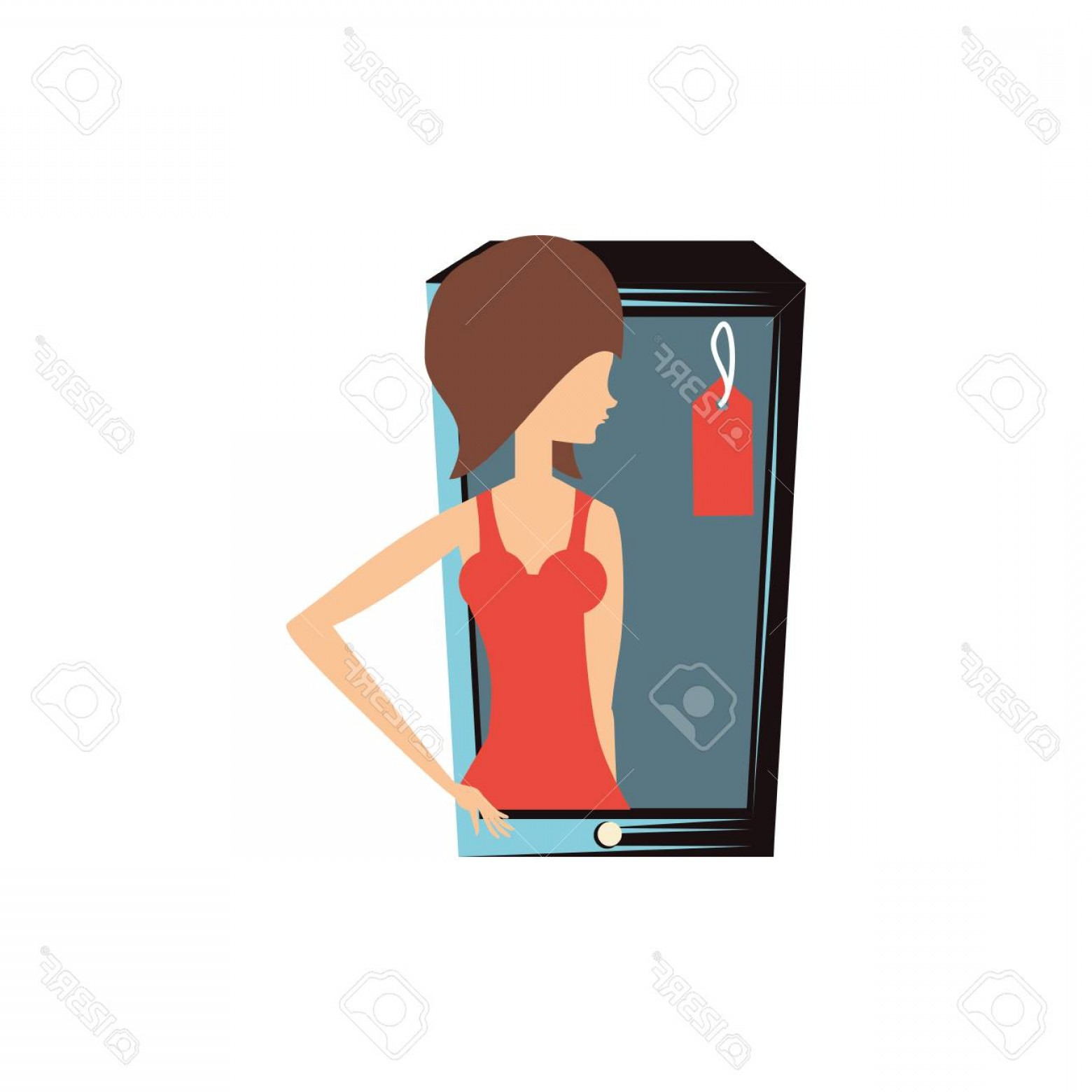 Commercial Booth Vector: Photostock Vector Woman Retro In Smartphone With Commercial Tag Vector Illustration Design