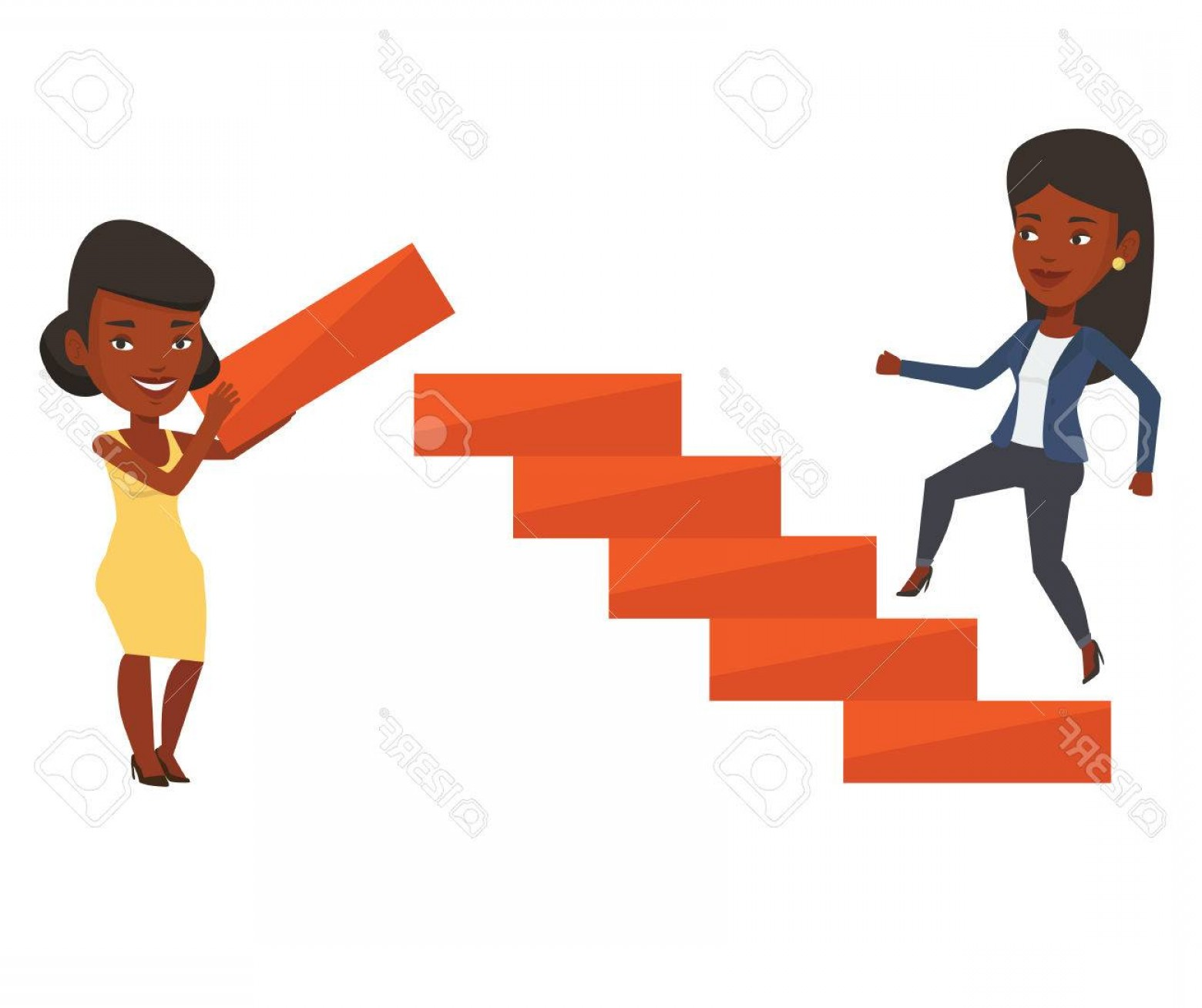 Vector Career Ladder: Photostock Vector Woman Runs Up The Career Ladder While Another Woman Builds This Ladder Businesswoman Climbing The Ca