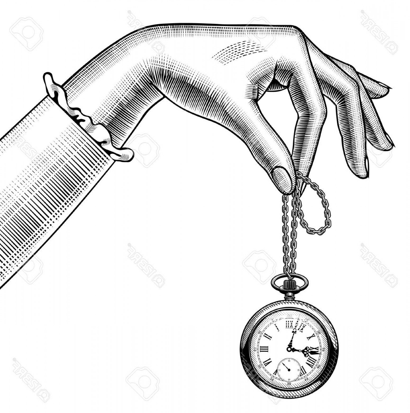 Fancy Wrist Watch Vector: Photostock Vector Woman S Hand With A Retro Pocket Watch Vintage Stylized Drawing Vector Illustration
