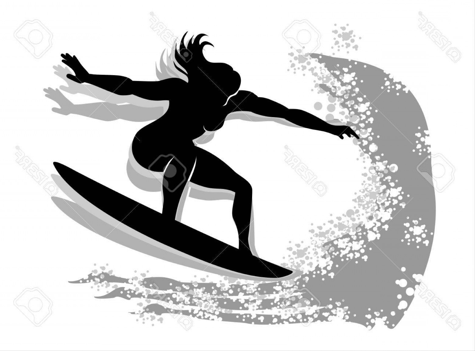 Waves With Surfer Silhouette Vector: Photostock Vector Woman Surfing Silhouette Isolated On White Background