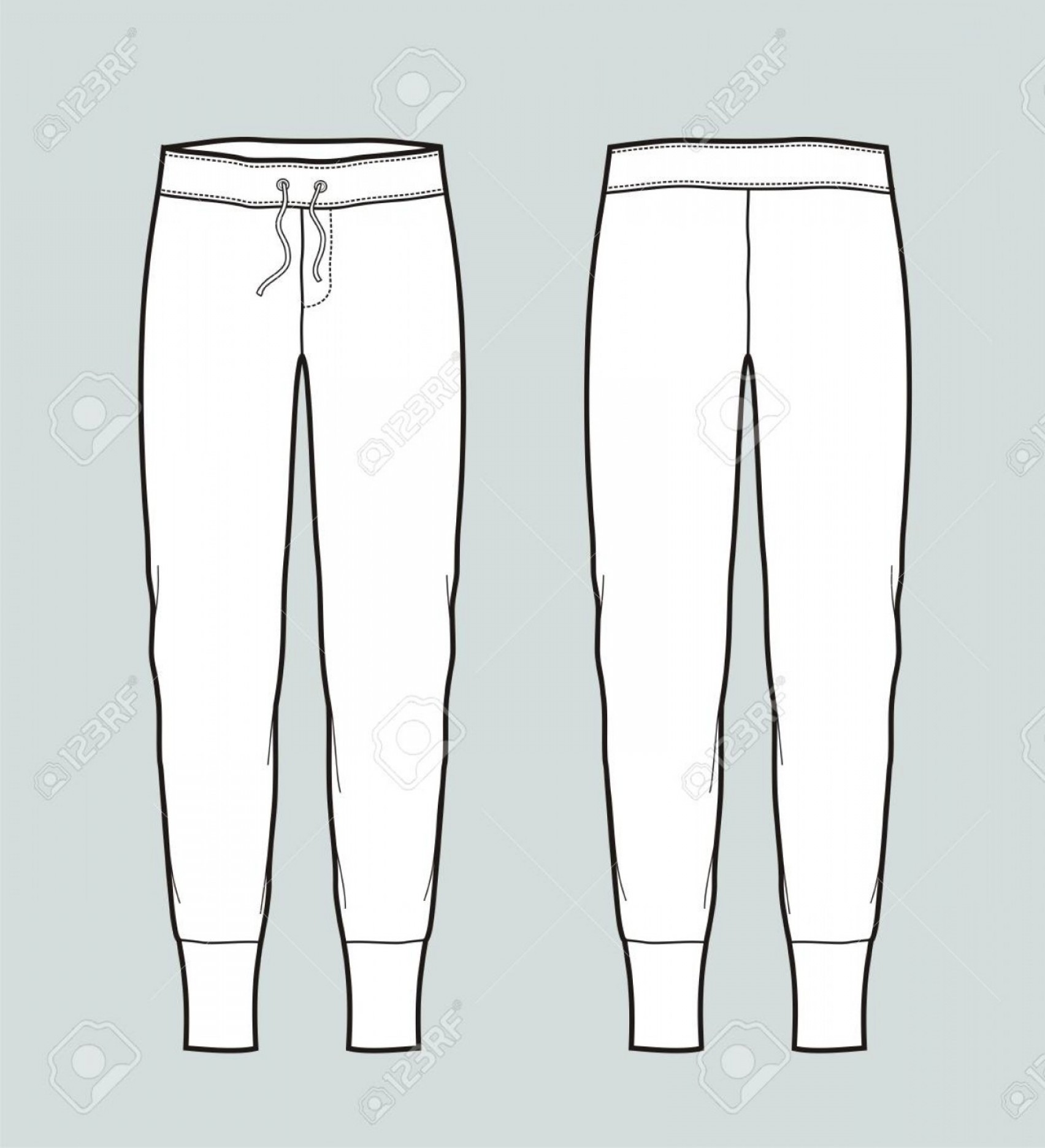 Vector Black Jeans: Photostock Vector Women S Jogger Pants Front And Back Vector Illustration