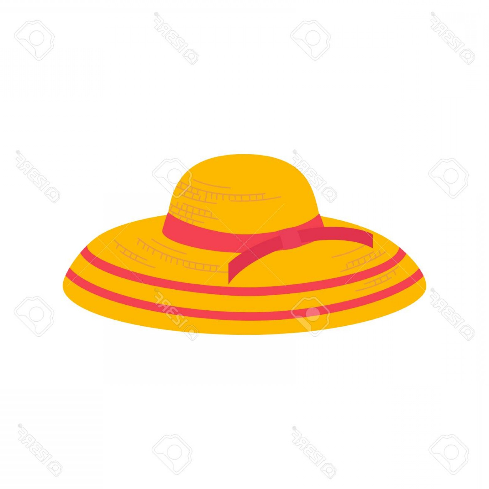 Vector Beach Hats: Photostock Vector Women Summer Hat Icon Girl Beach Sunhat Flat Cartoon Lady Hat For Vacation Woman Straw Cap For Trave