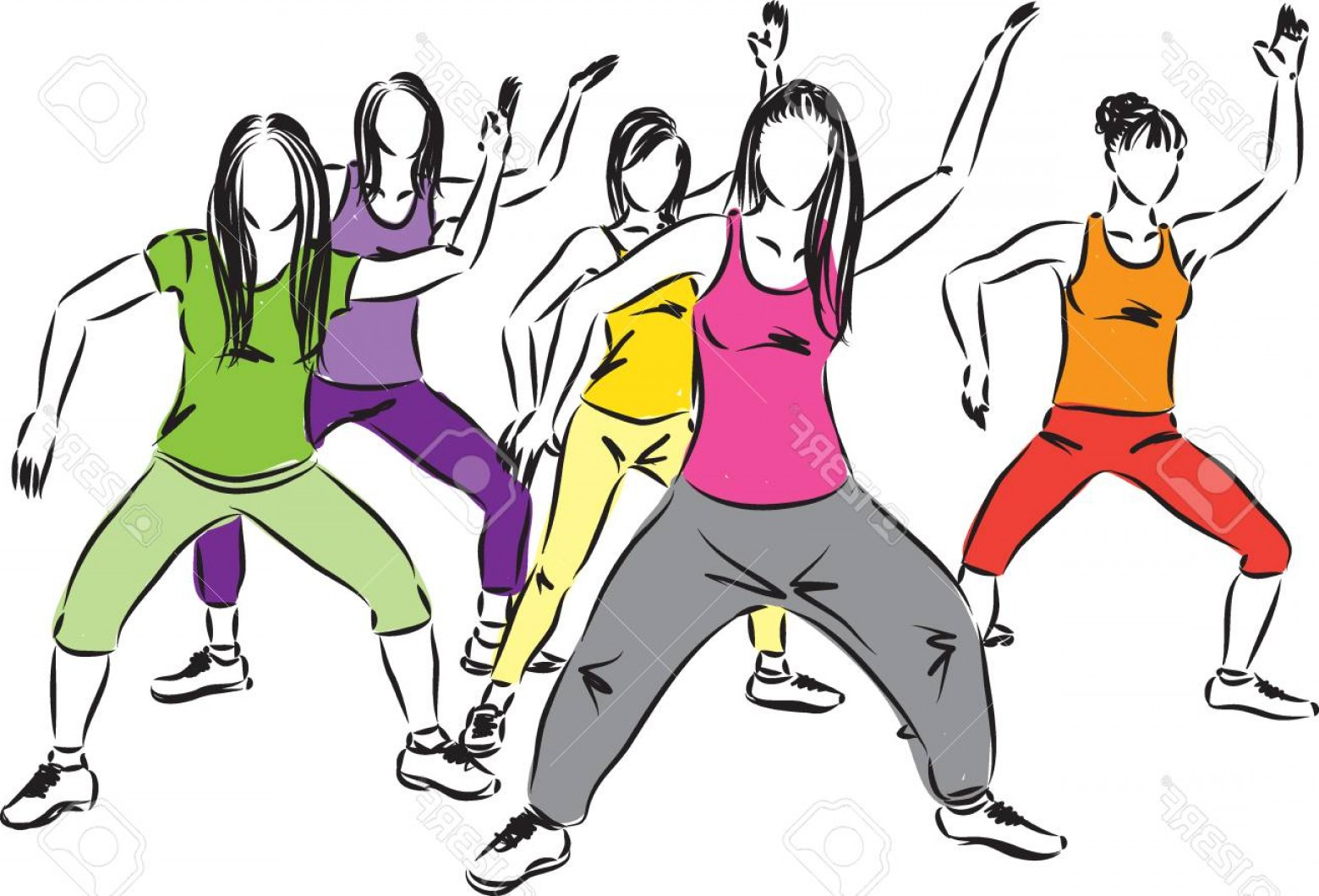 Zumba Vector Illustration: Photostock Vector Women Workout Vector Illustration