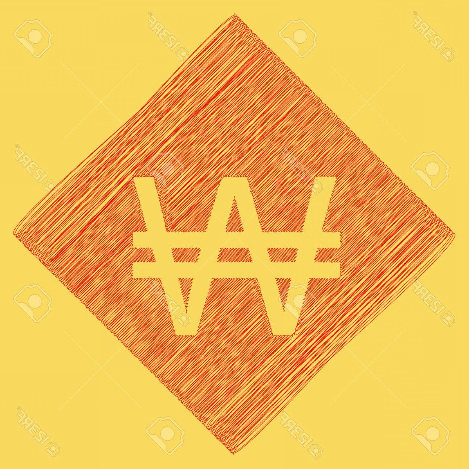 Subtracting Vectors BA: Photostock Vector Won Sign Vector Red Scribble Icon Obtained As A Result Of Subtraction Rhomb And Path Royal Yellow Ba