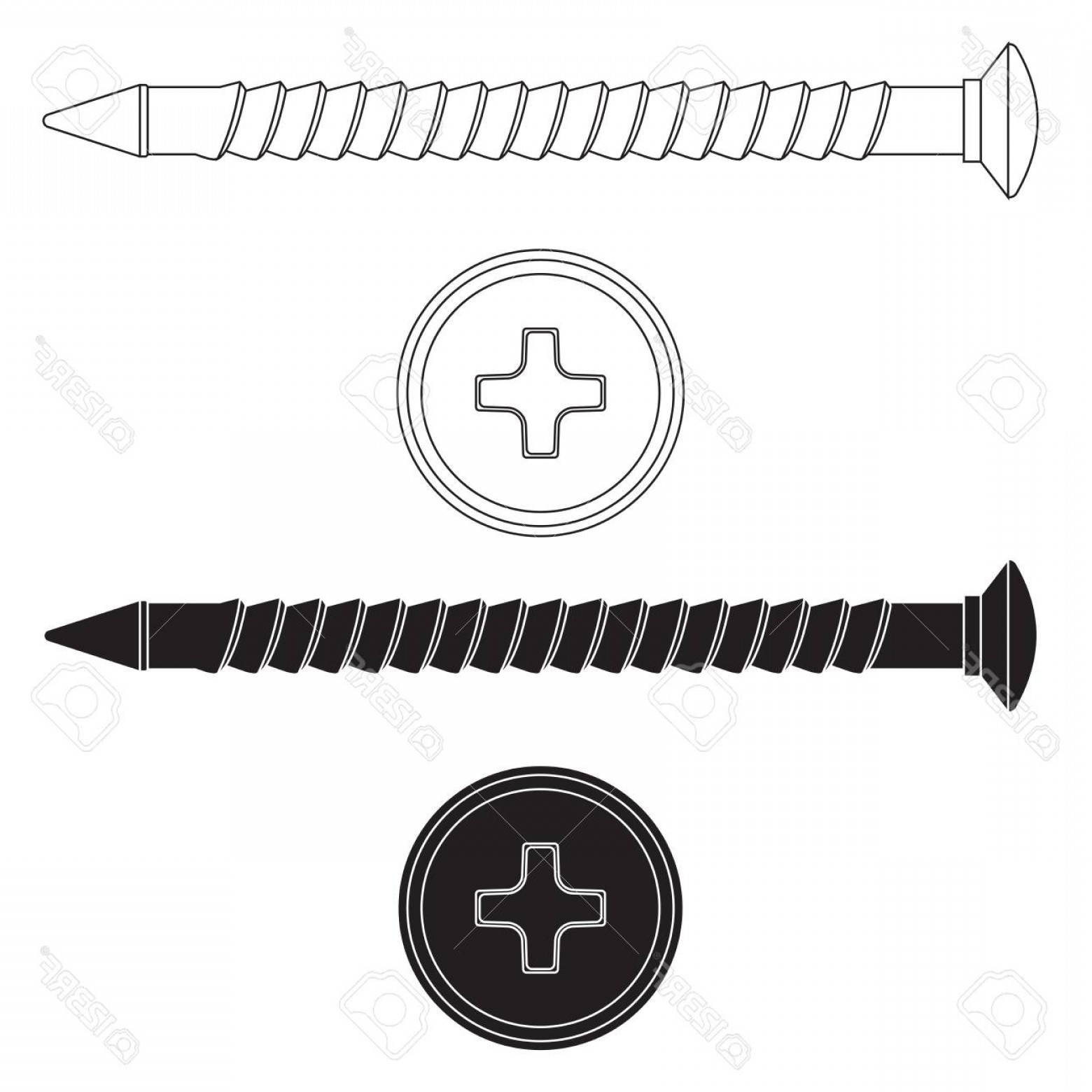 Screw Vector Black: Photostock Vector Wood Screw Black And White Outline Drawing
