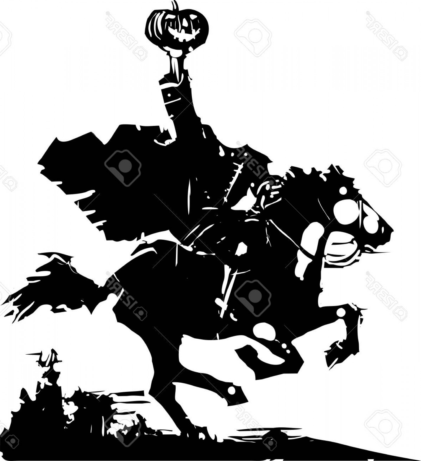 Headless Scary Halloween Skeletons Vectors: Photostock Vector Woodcut Style Expressionist Image Of The Headless Horseman Ghost Vector Illustration