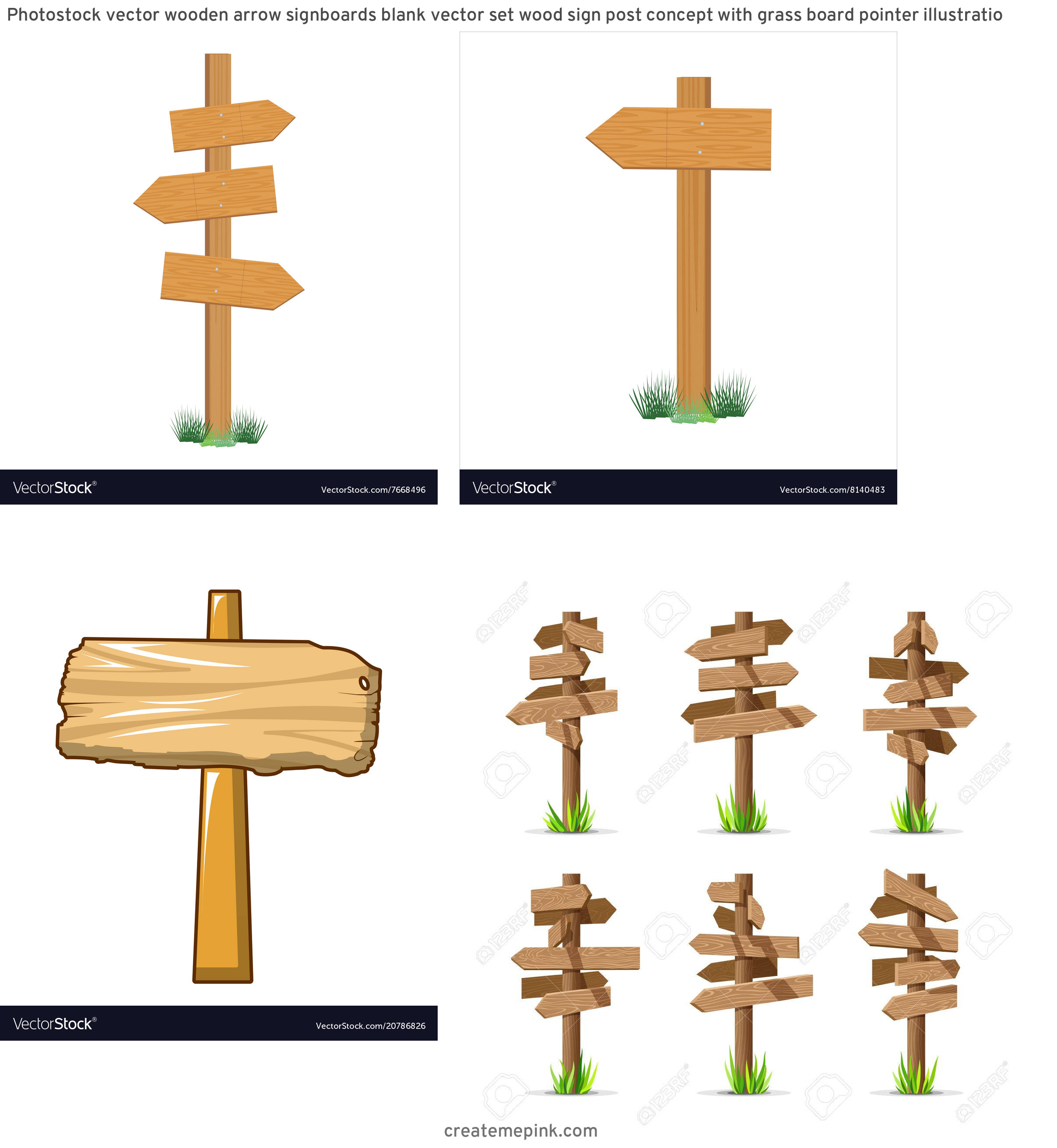 Wooden Sign Post Vector: Photostock Vector Wooden Arrow Signboards Blank Vector Set Wood Sign Post Concept With Grass Board Pointer Illustratio