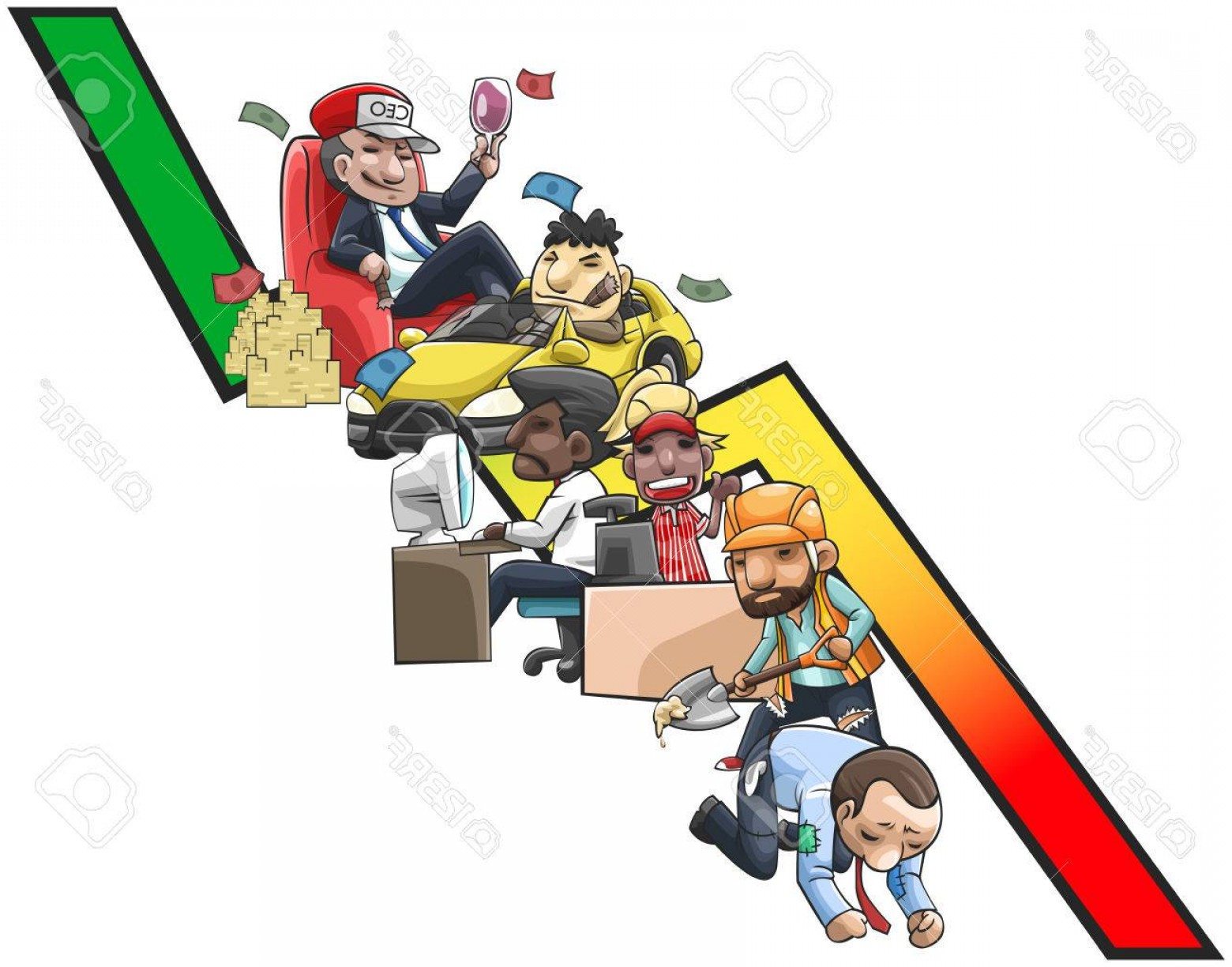 Vector Marketing Salary: Photostock Vector Work And Wealth Graph Of Cartoon People From Poor Labor And Salary Worker Into Wealthy Ceo Or Entrep
