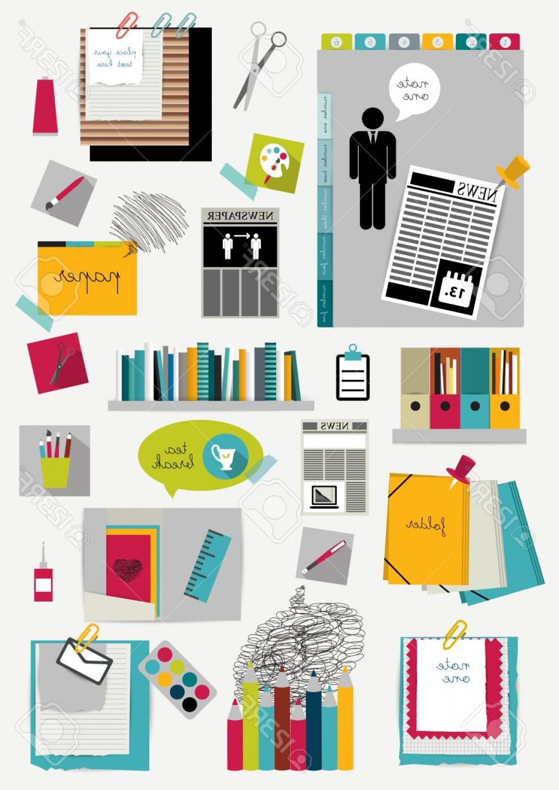 Folder Tab Vectors: Photostock Vector Work Office Web Layout Colorful Graphic Template Folder Sticker Tab Data Bubbles Set Vector Backgrou