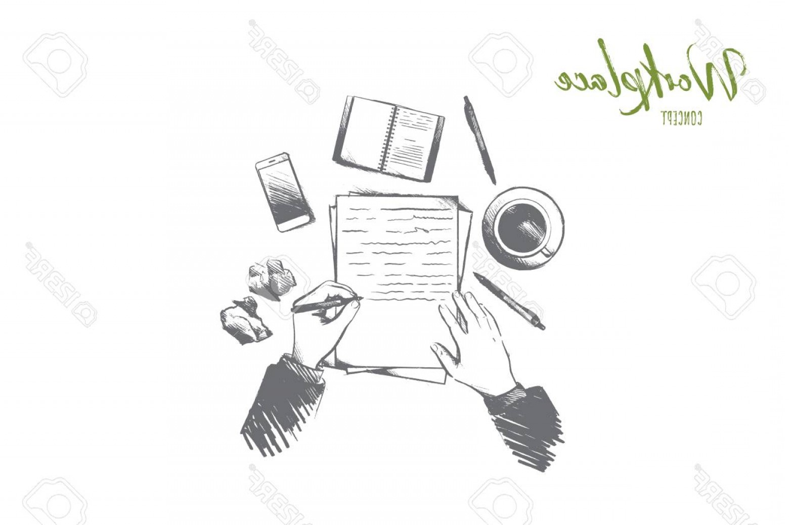 Notepad Writing Hand Vector: Photostock Vector Workplace Concept Hand Drawn Top View Of Person Writing In Notepad Placed On Table Desktop With A Co