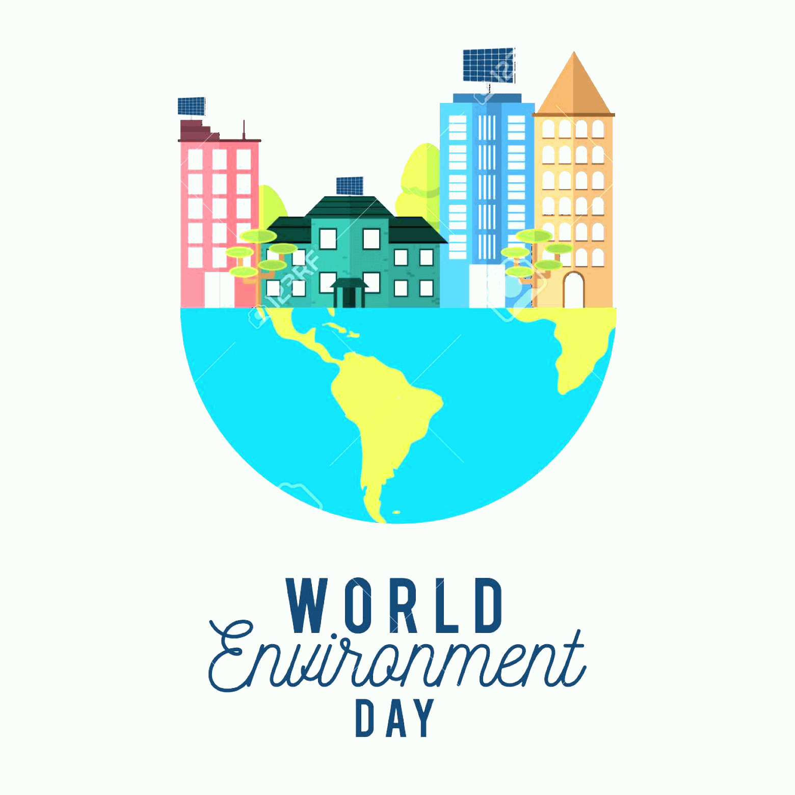 Earth With Buildings Vector: Photostock Vector World Environment Day With Buildings On Earth Vector Illustration