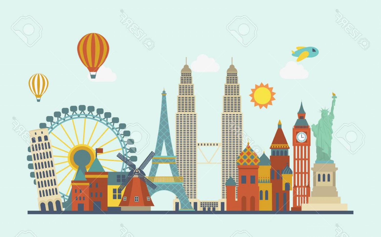 Vector Word Famous: Photostock Vector World Famous Attractions In Flat Design Style
