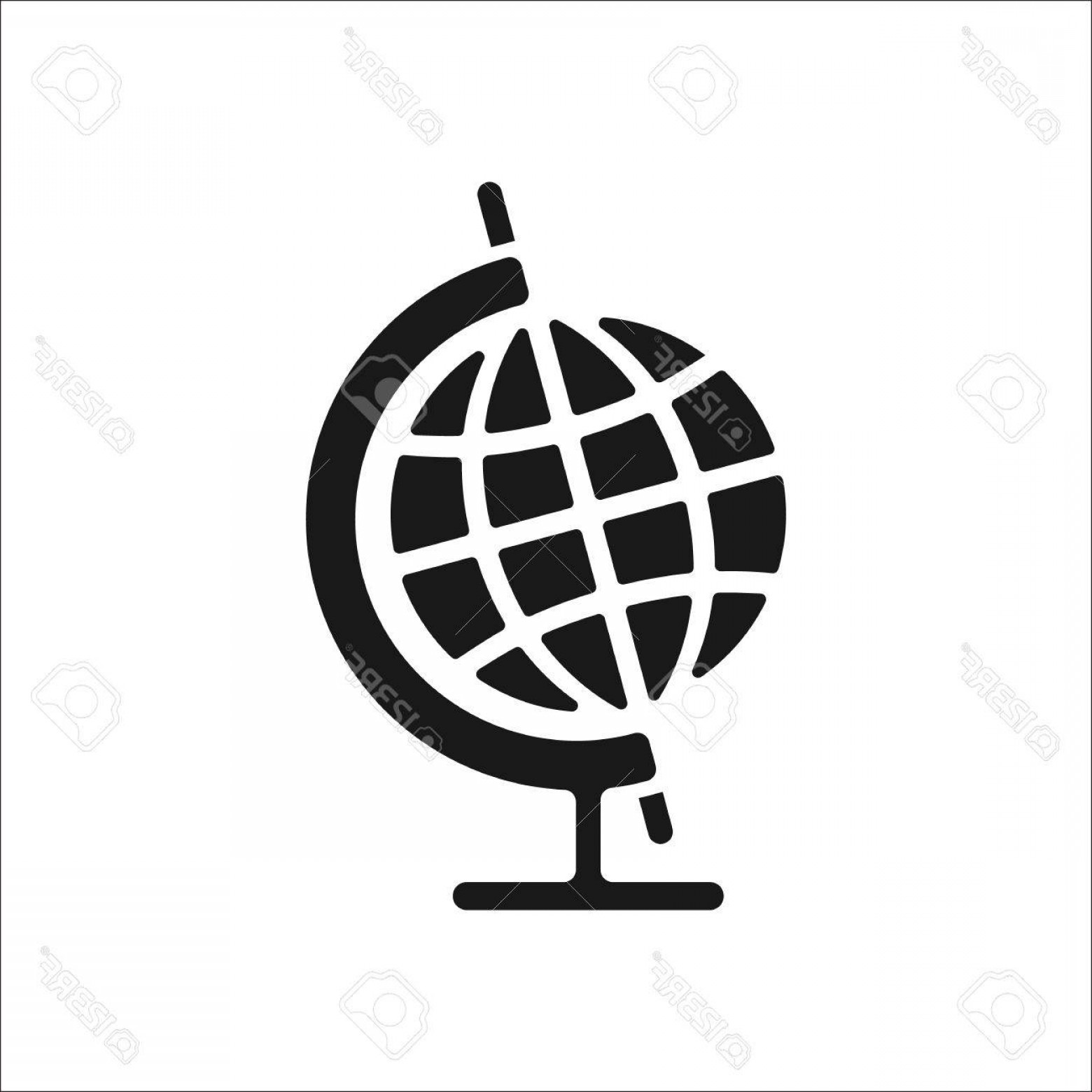 World Icon Vector Simple: Photostock Vector World Globe With Stand Sign Simple Icon On Background