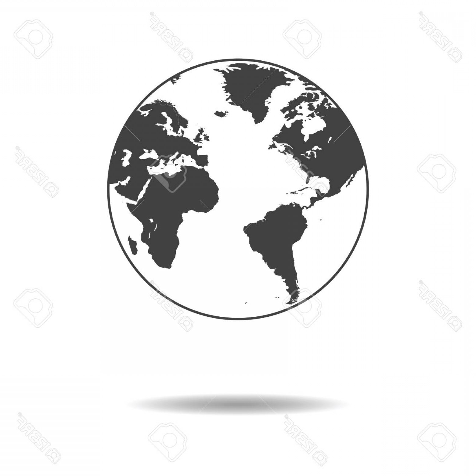 World Icon Vector Simple: Photostock Vector World Icon Simple Flat Design Of Globe Isolated On White Background Vector