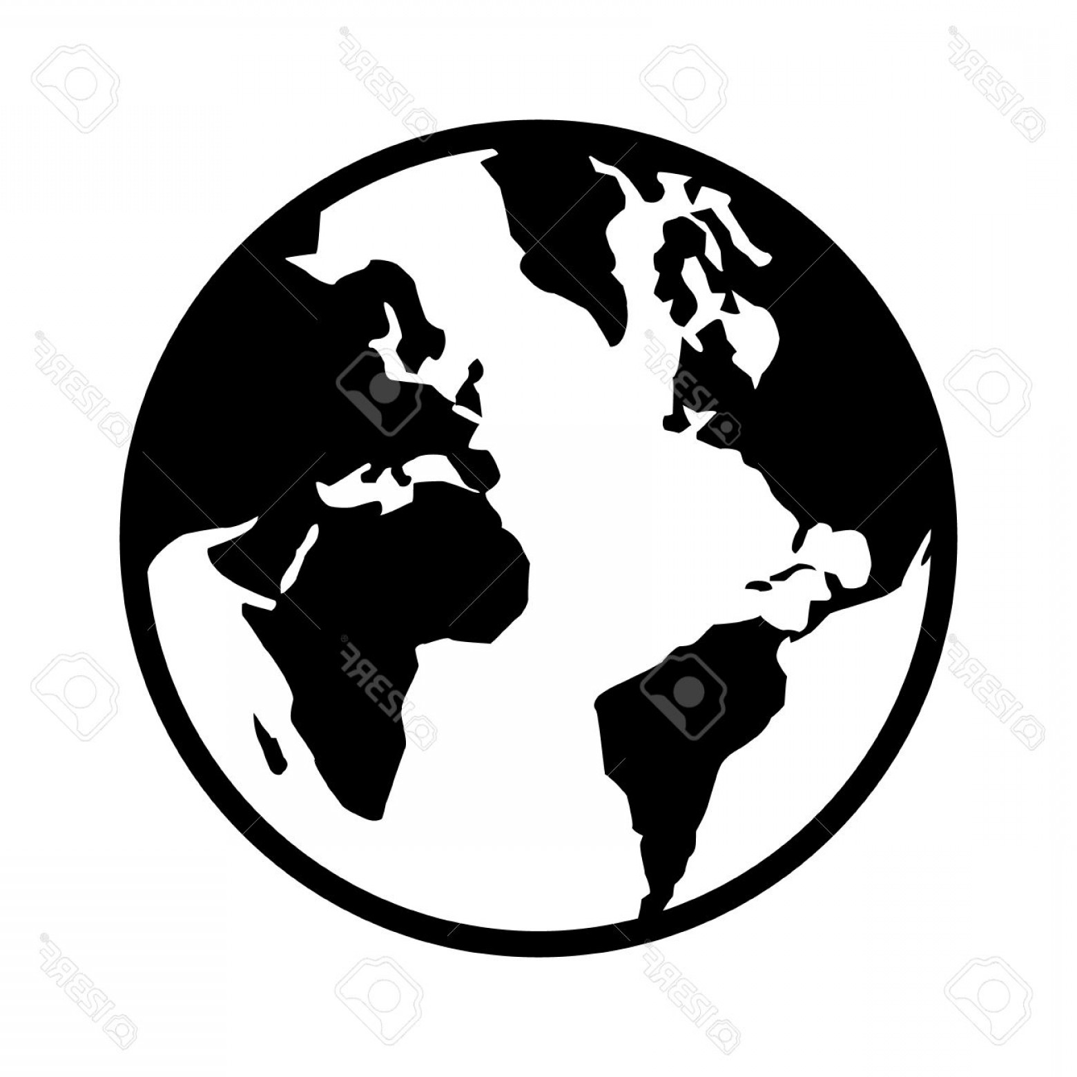 World Icon Vector Simple: Photostock Vector World Map Globe Or Planet Earth World Map Line Art Icon For Apps And Websites