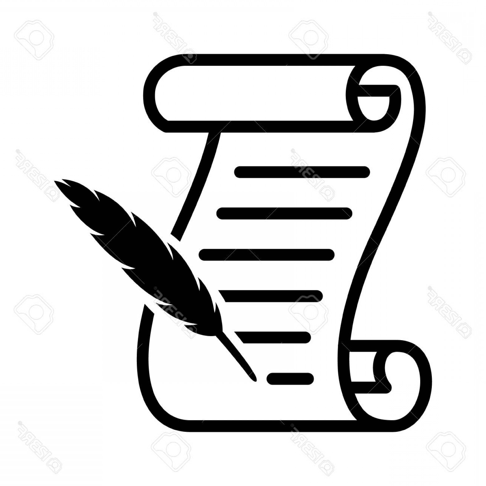 Quill Pen Vector: Photostock Vector Writing On A Scroll With A Feather Quill Pen Line Art Vector Icon For Games And Websites