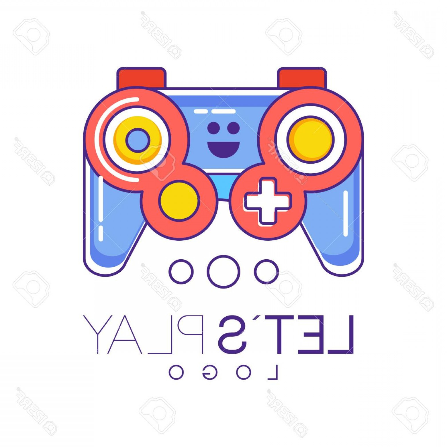 Xbox Game Controller Vector: Photostock Vector Xbox Gamepad Logo Design In Line Style With Red And Blue Fill Wireless Joystick For Game Console Gra