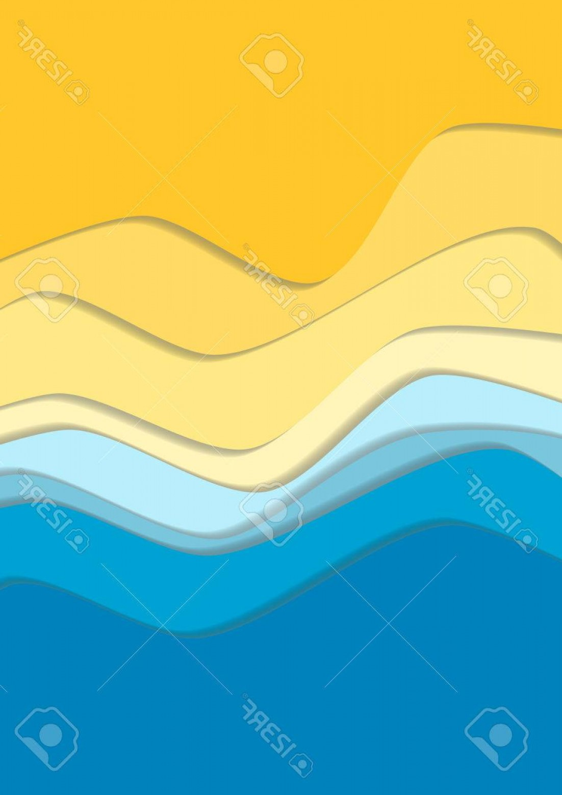 Vector Yellow And Orange Beach: Photostock Vector Yellow And Blue Curve Wave Line Background Sea And Beach In Paper Cut Style Cropped With Clipping Ma